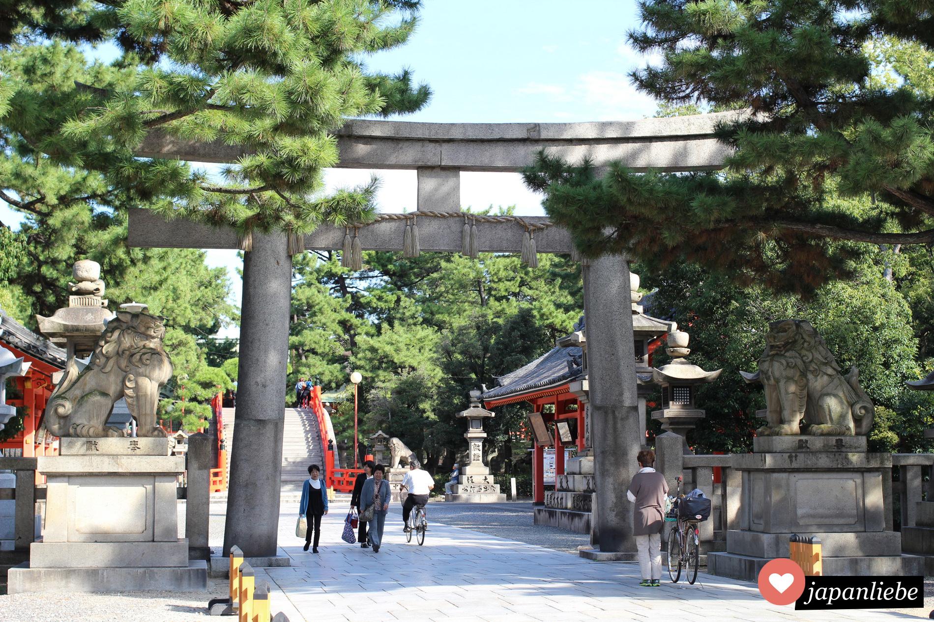 Das torii zum Sumiyoshi Taisha Schrein in Ōssaka