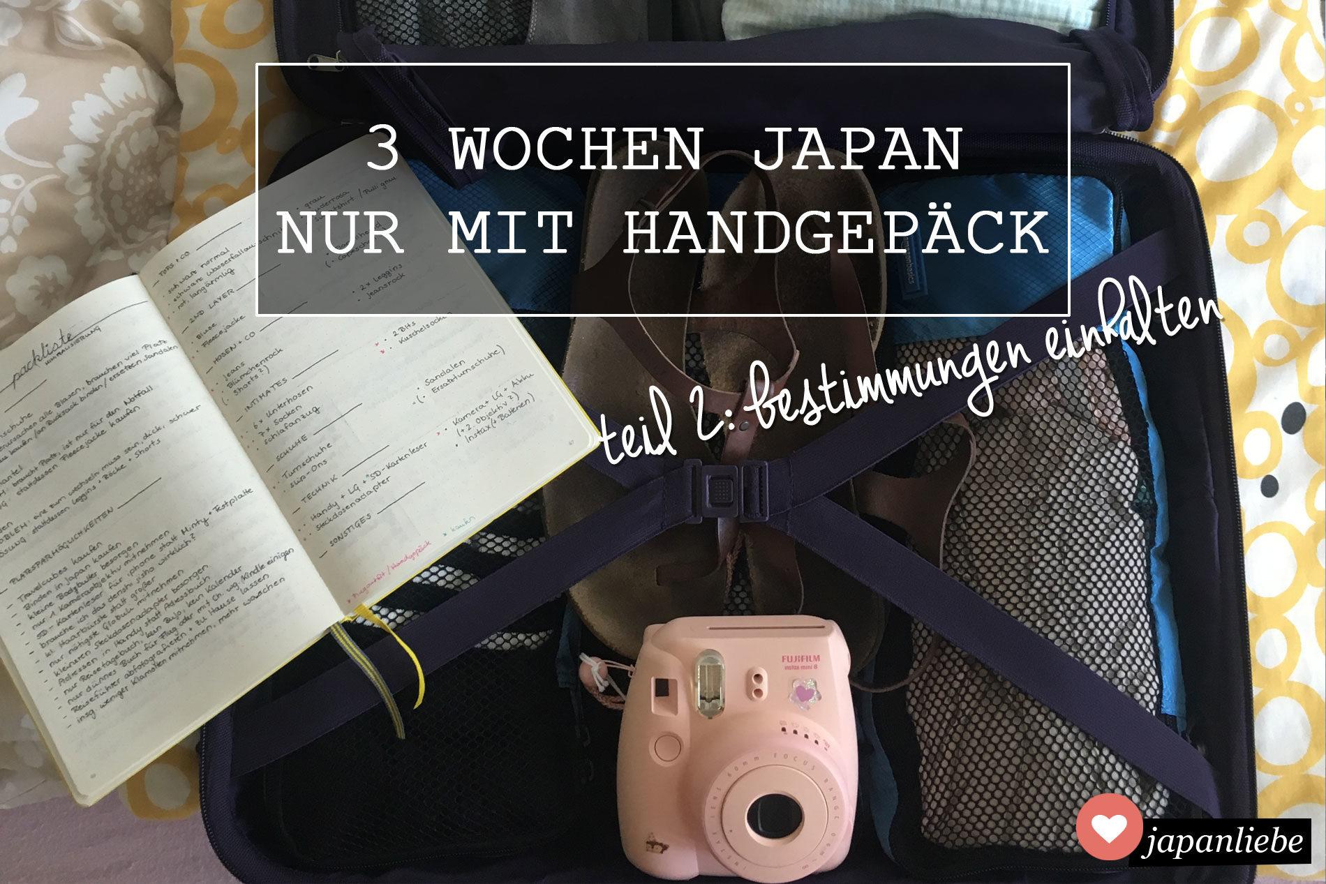 3 Wochen Japan nur mit Handgepäck: Handgepäckbestimmungen einhalten