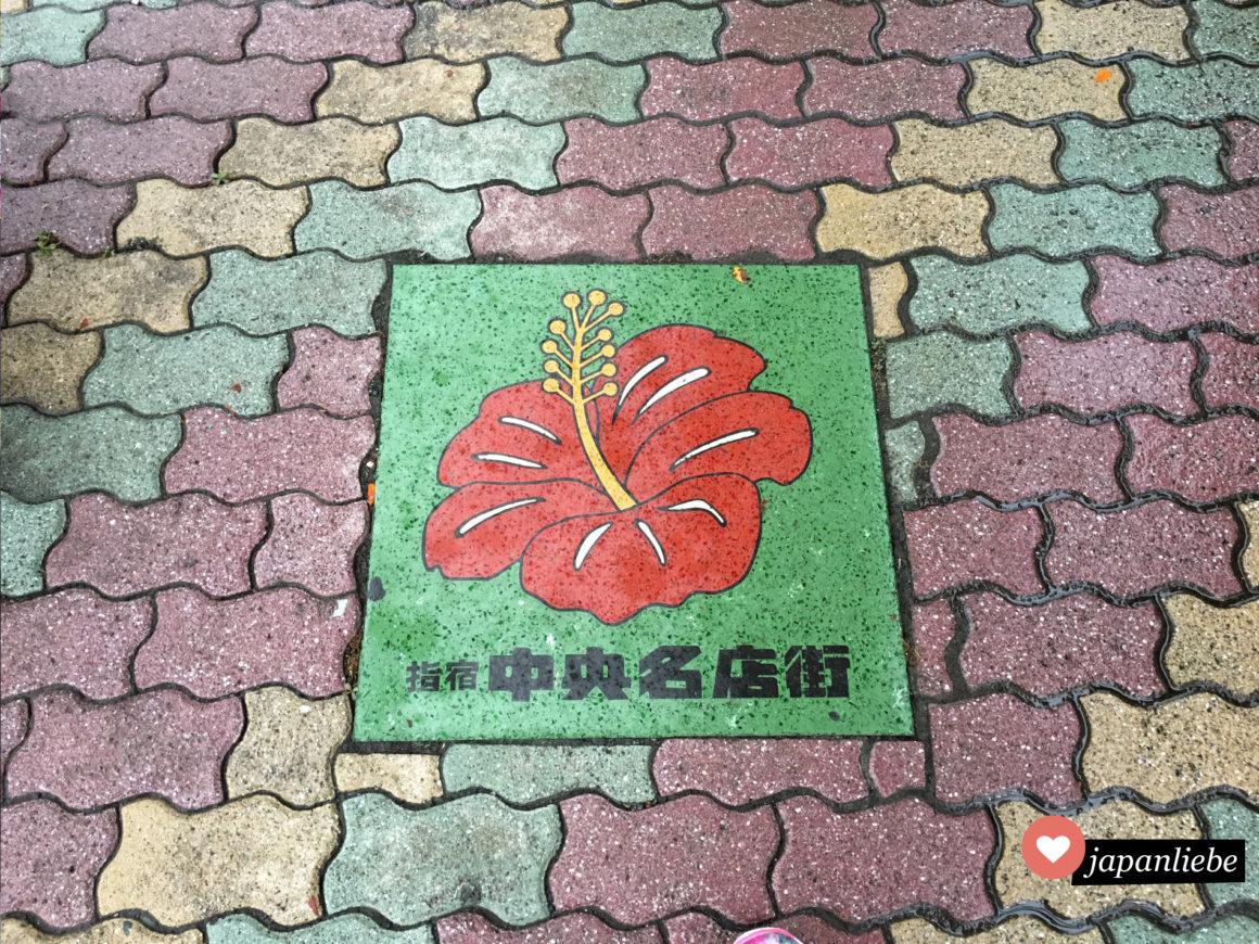 Wegweiser mit Blüten zieren den Gehsteig in Ibusukis Einkaufsstraße.