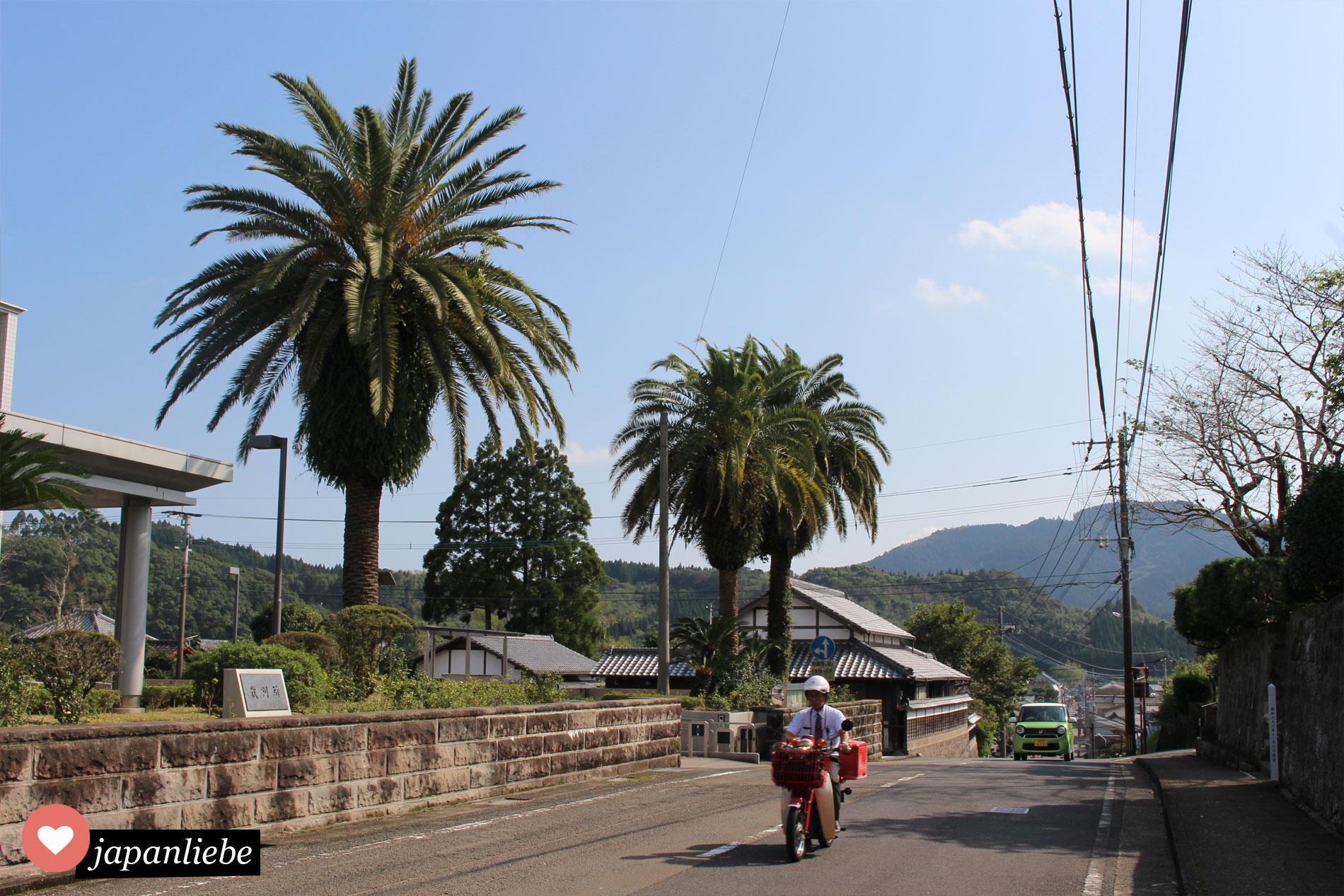 In Miyazaki, Japan gibt es überall Palmen und Postboten, die mit dem Motorrad ausliefern.