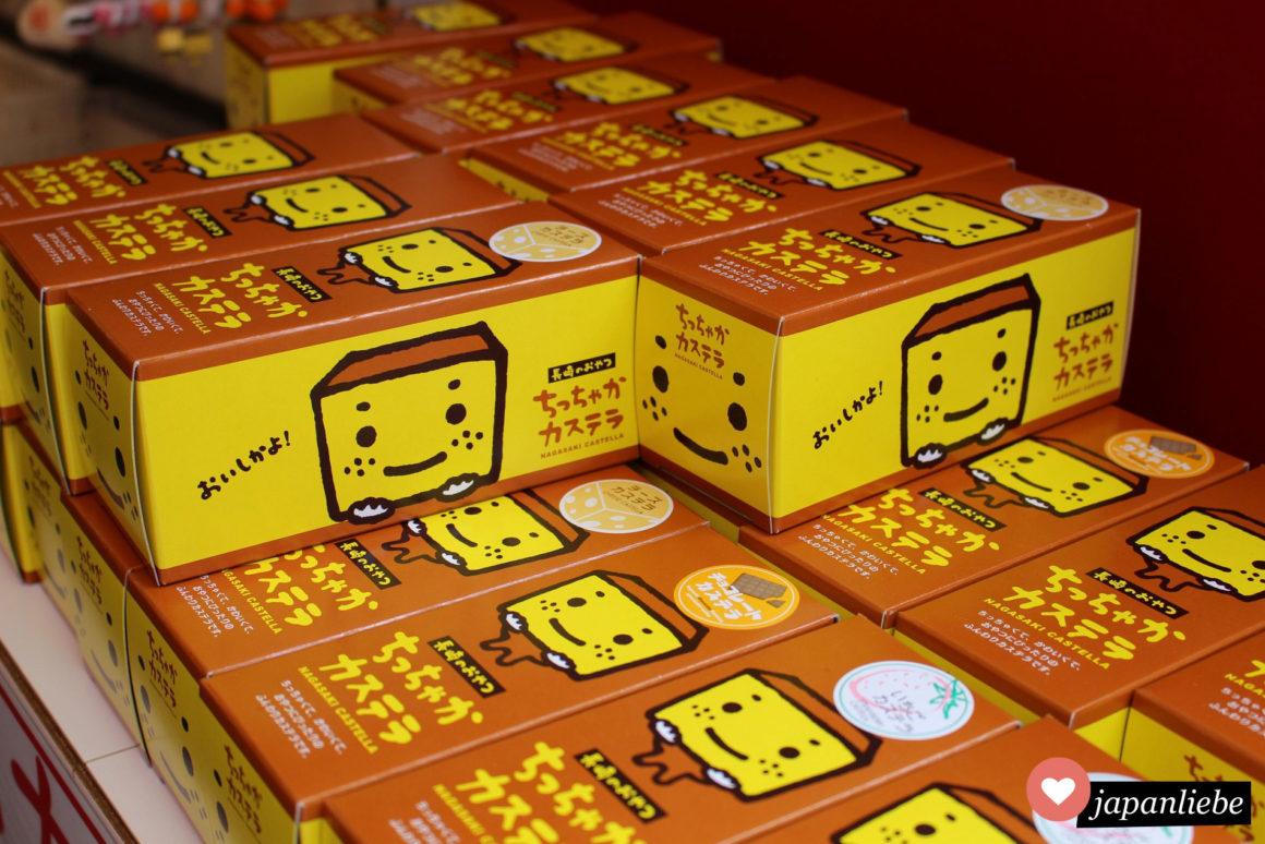 Ein beliebtes Mitbringsel für Nagasaki-Touristen: Castella Kuchen in niedlicher Verpackung.
