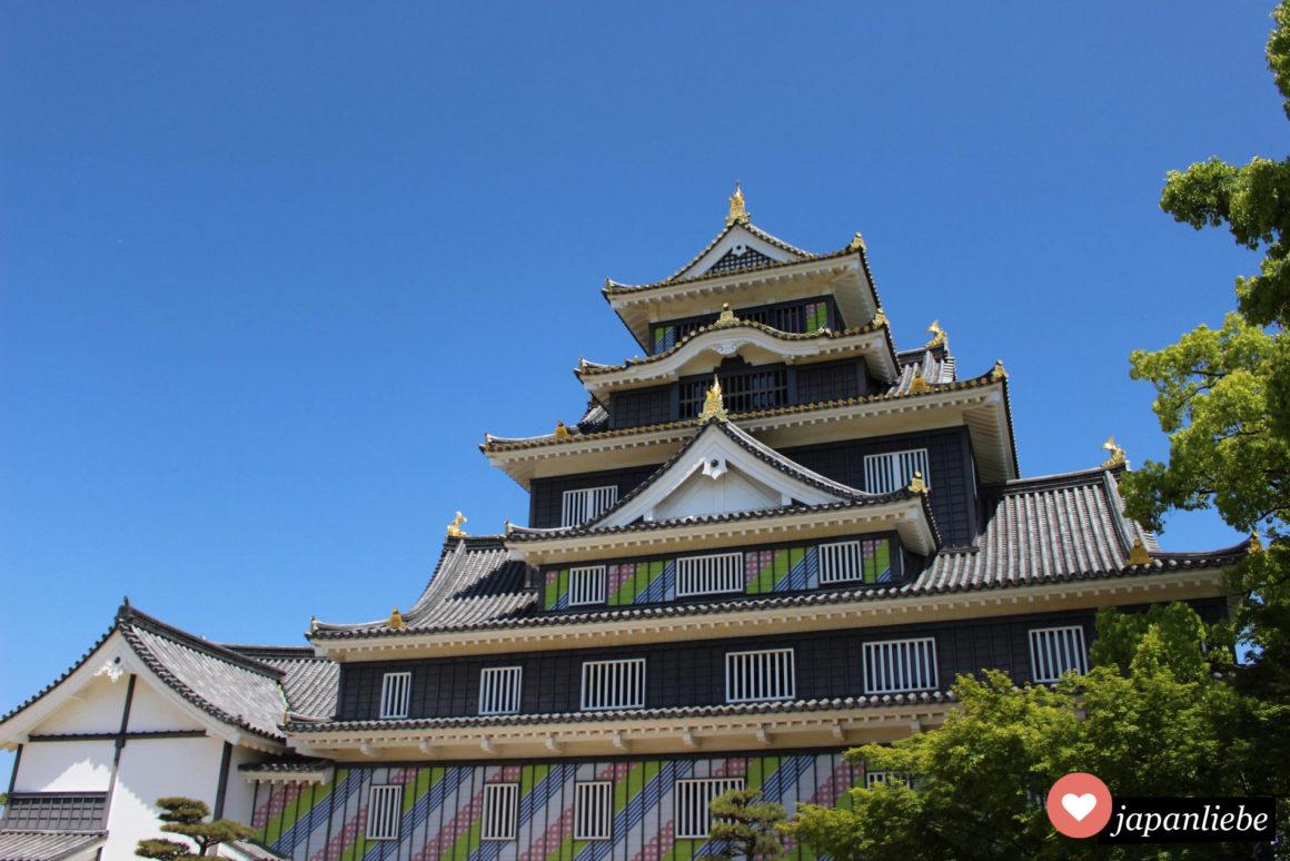 Die schwarze Krähenburg von Okayama dekoriert mit mt Masking Tape
