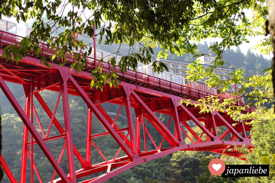Ein Zug fährt über die Shin Yamabiko Brücke.