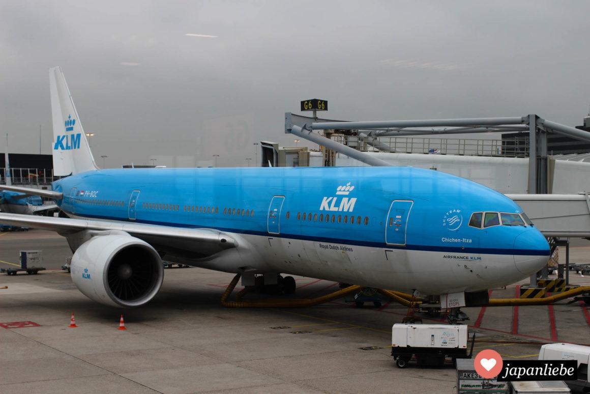 Dieses Flugzeug von KLM hat uns 2014 günstig nach Fukuoka gebracht.
