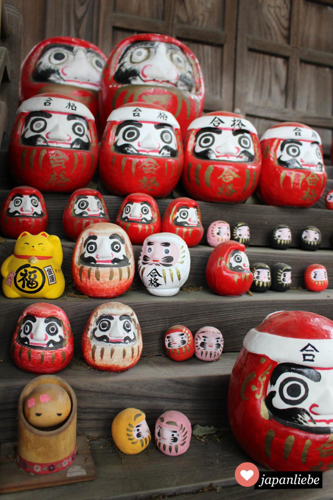 Unter viele Daruma-Figuren in allen Größen hat sich am Achi Schrein in Kurashiki auch eine gelbe Glückskatze gemogelt.
