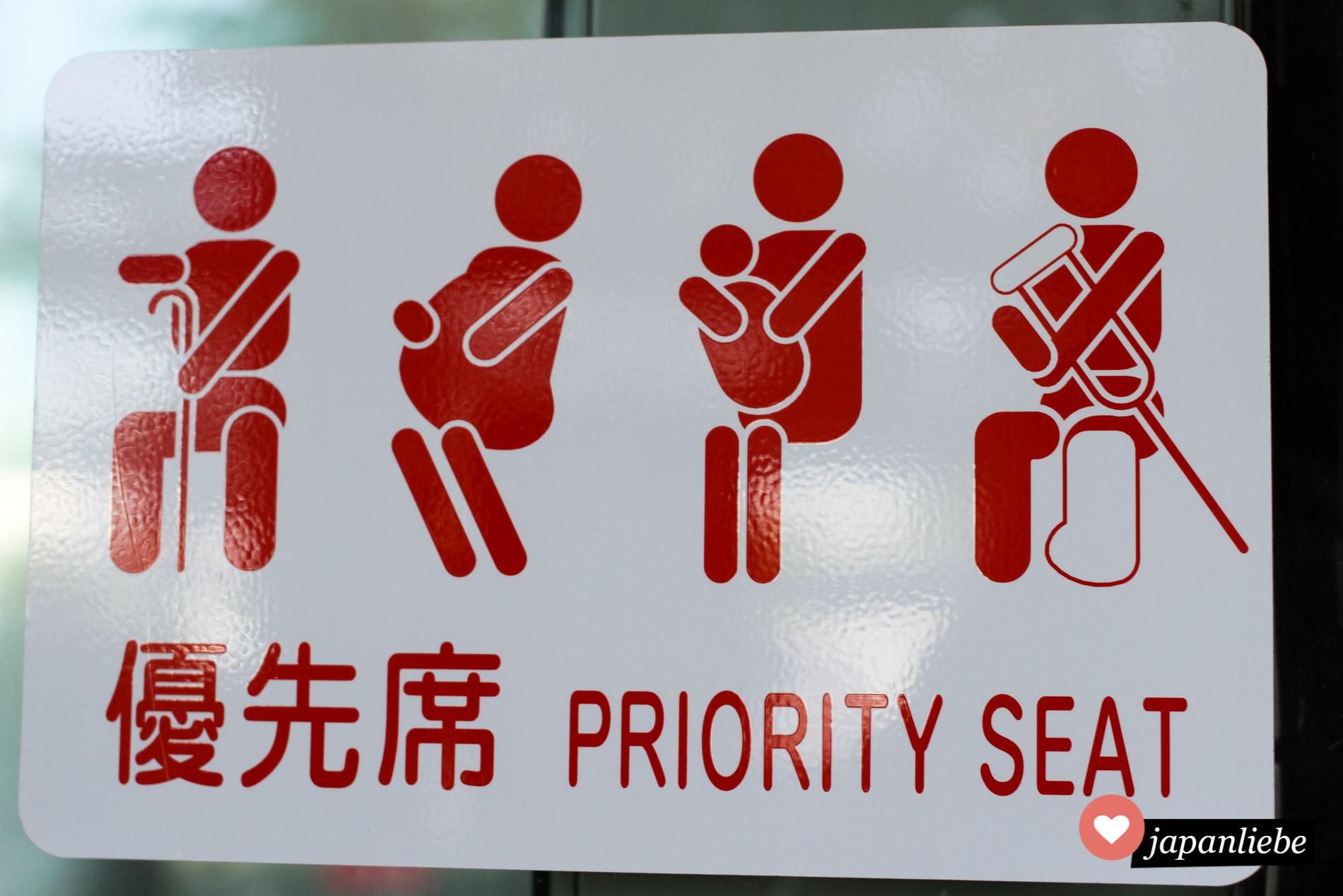 Ein typische Zeichen für Priority Seats in japanischen Verkehrsmitteln.