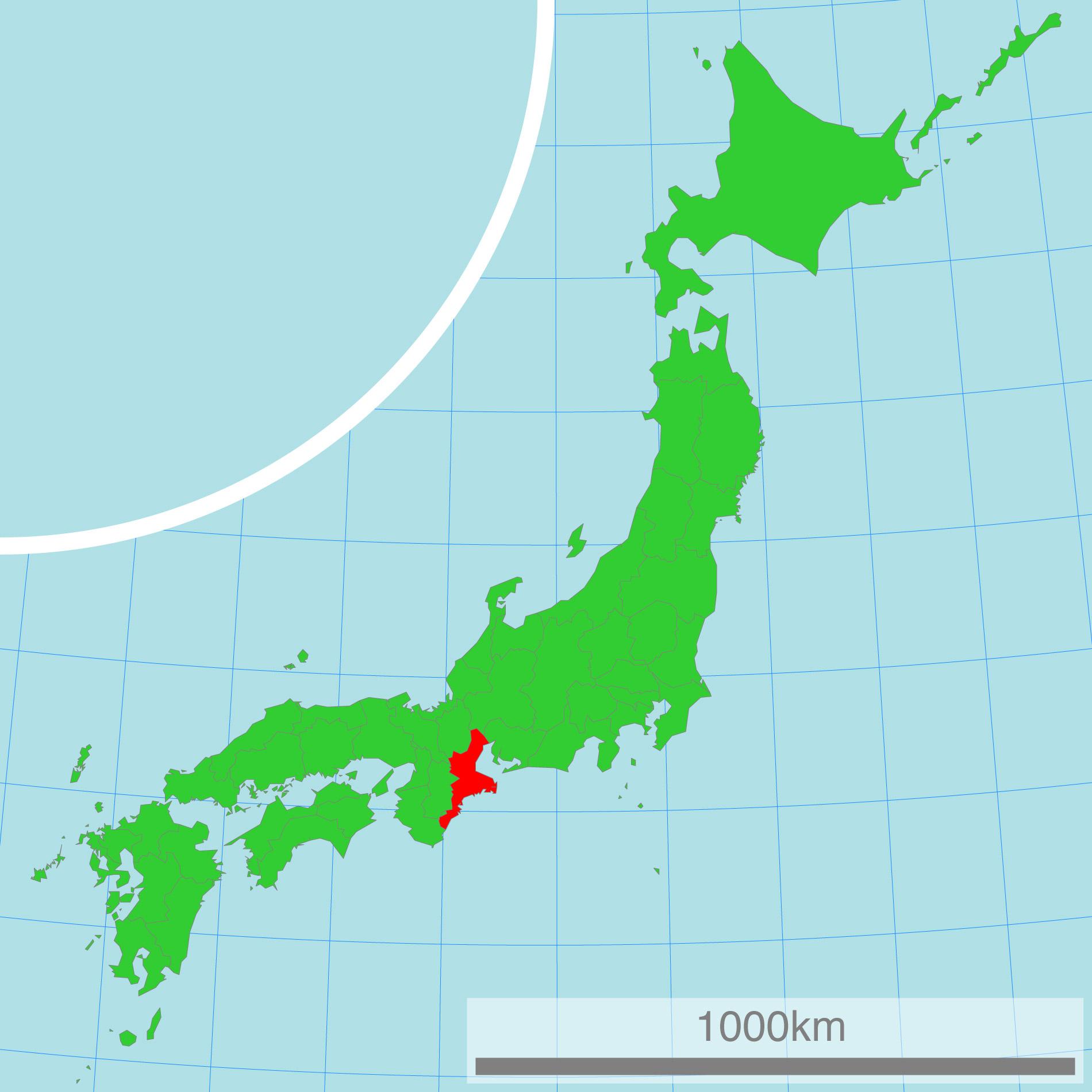 Japankarte: Die Präfektur Mie.
