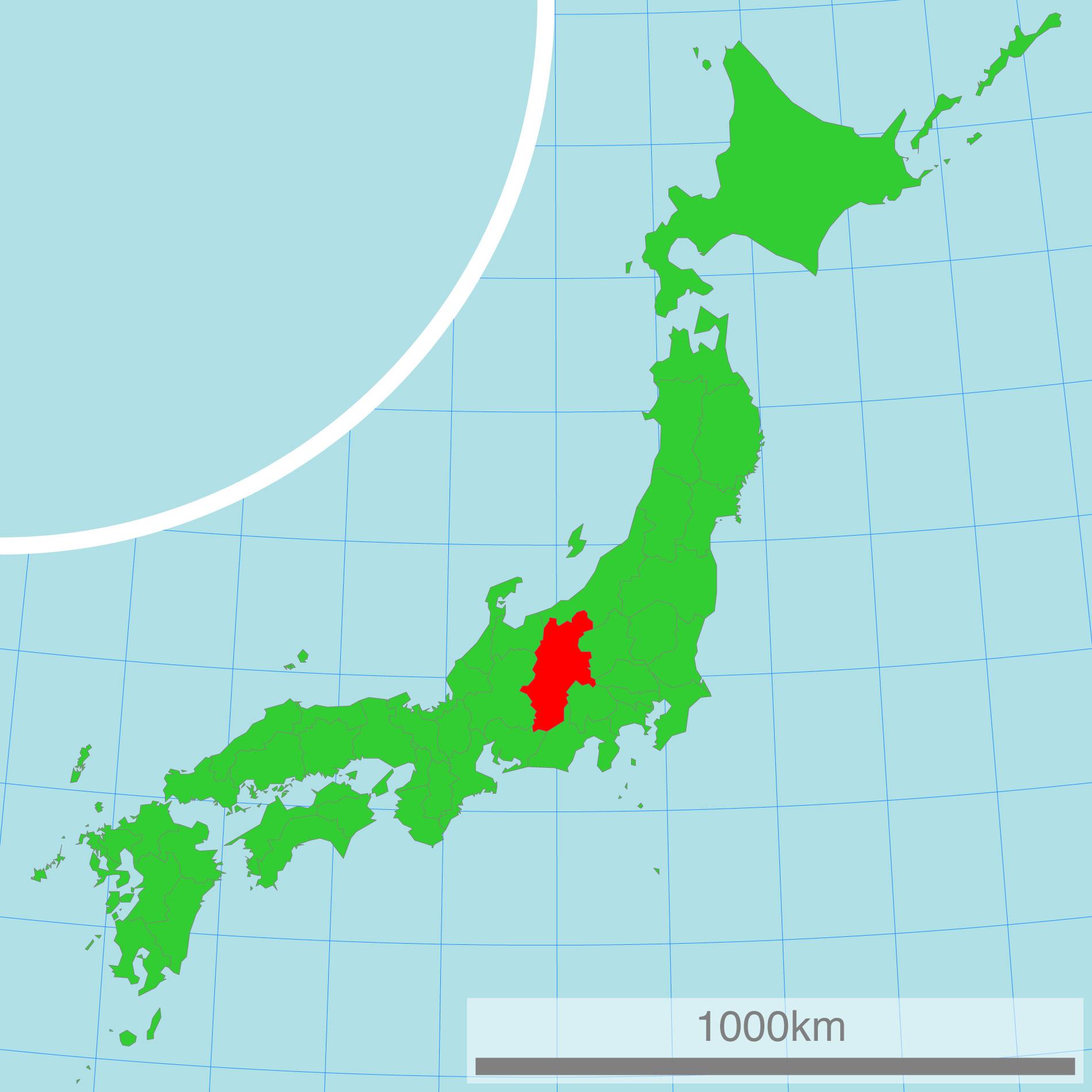 Japankarte: Die Präfektur Nagano.
