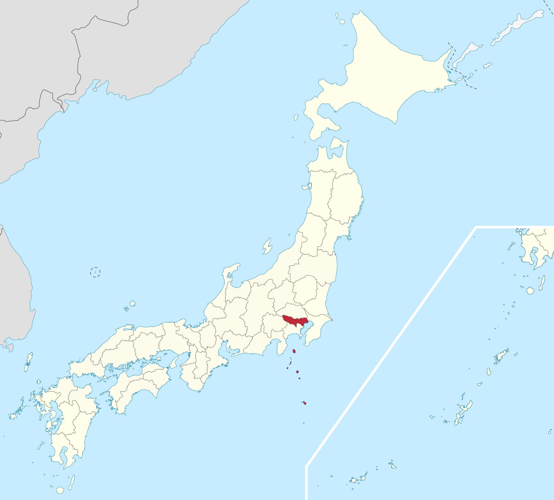 Japankarte: Die Präfektur Tokyo.