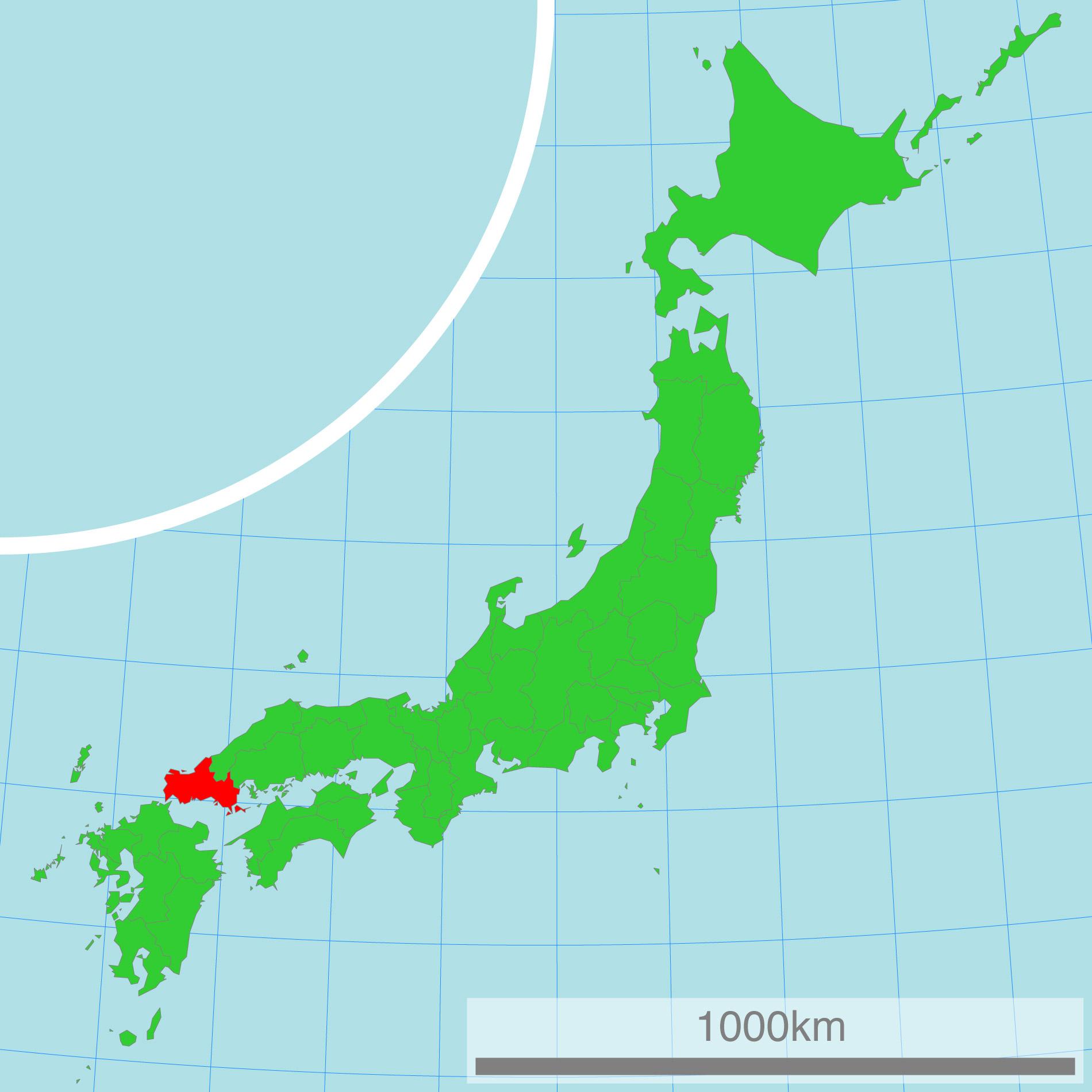 Japankarte: Die Präfektur Yamaguchi.