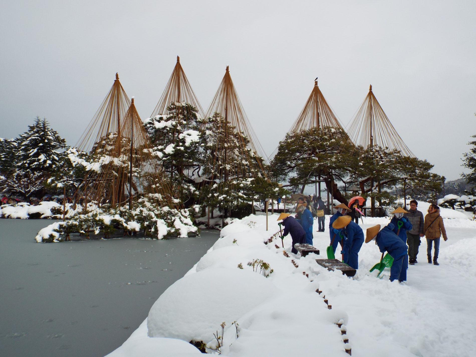 Der Kenroku-en Garten in Kanazawa ist im Winter besonders faszinierend durch die Seilkonstruktionen, die die Bäume vor zu hoher Schneelast sichern sollen. (Foto: Happy Come auf Flickr https://flic.kr/p/qhwwUU CC BY 2.0)