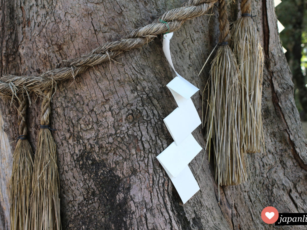Ein heiliges Strohseil, ein shimenawa mit shide Papier-Zickzack-Streifen markiert einen heiligen Baum am Sumiyoshi Taisha Schrein in Ōsaka.