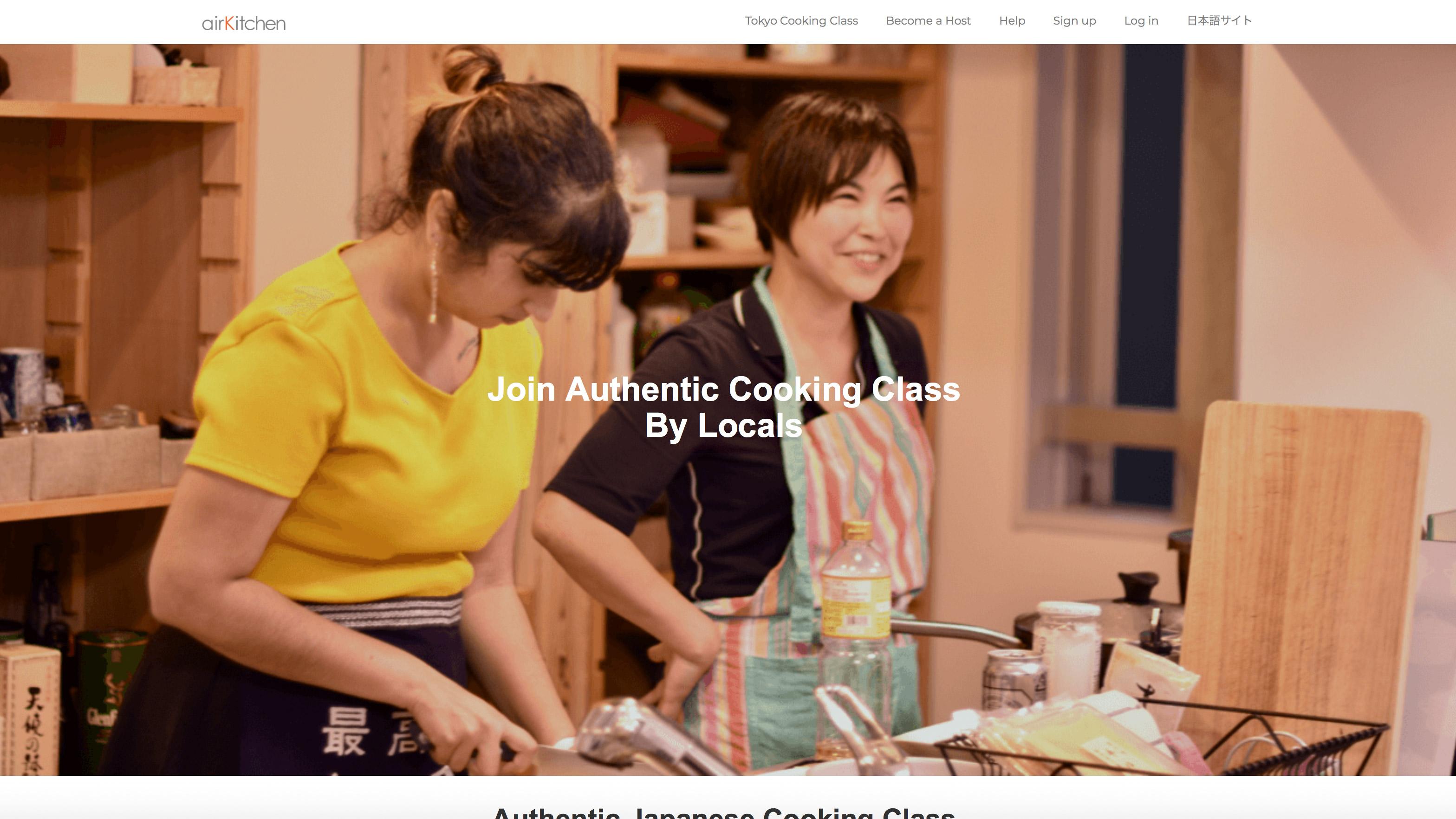 Die Webseite von AirKitchen. Einen Kurs finden und buchen ist ganz einfach.