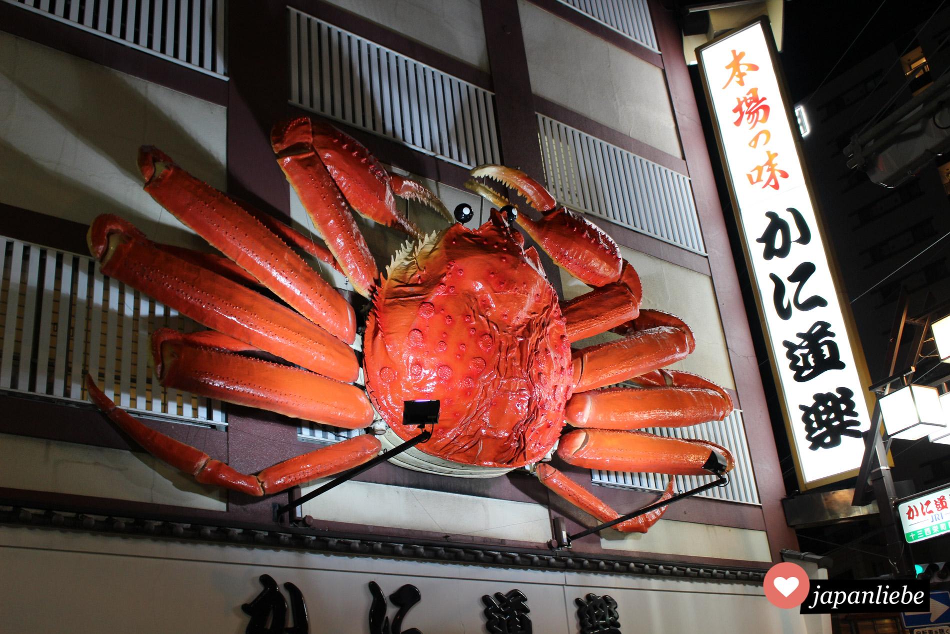 Eine sich bewegende Krabbe bewirbt ein Restaurant in Ōsaka
