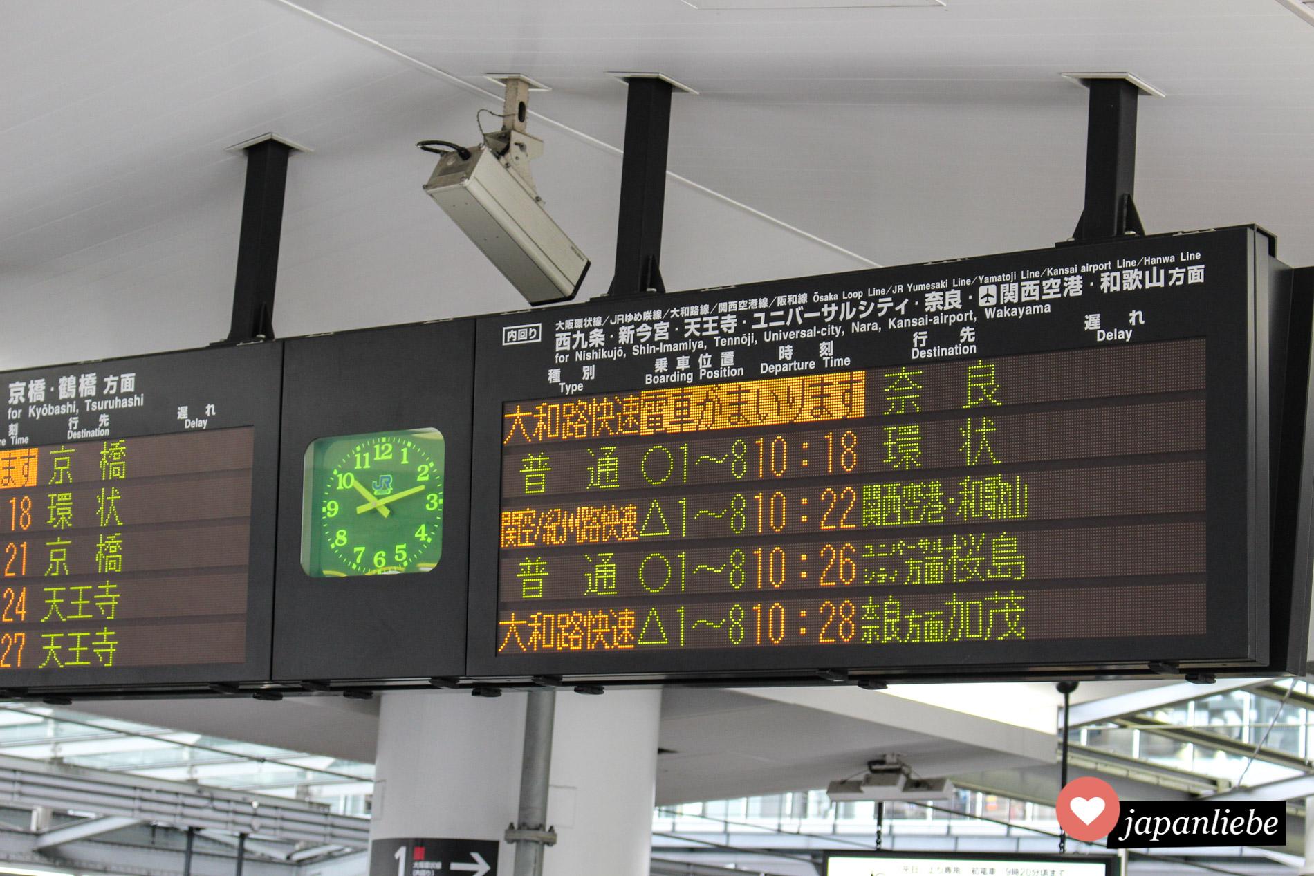 Ein Display für Zugverbindungen nach Nara