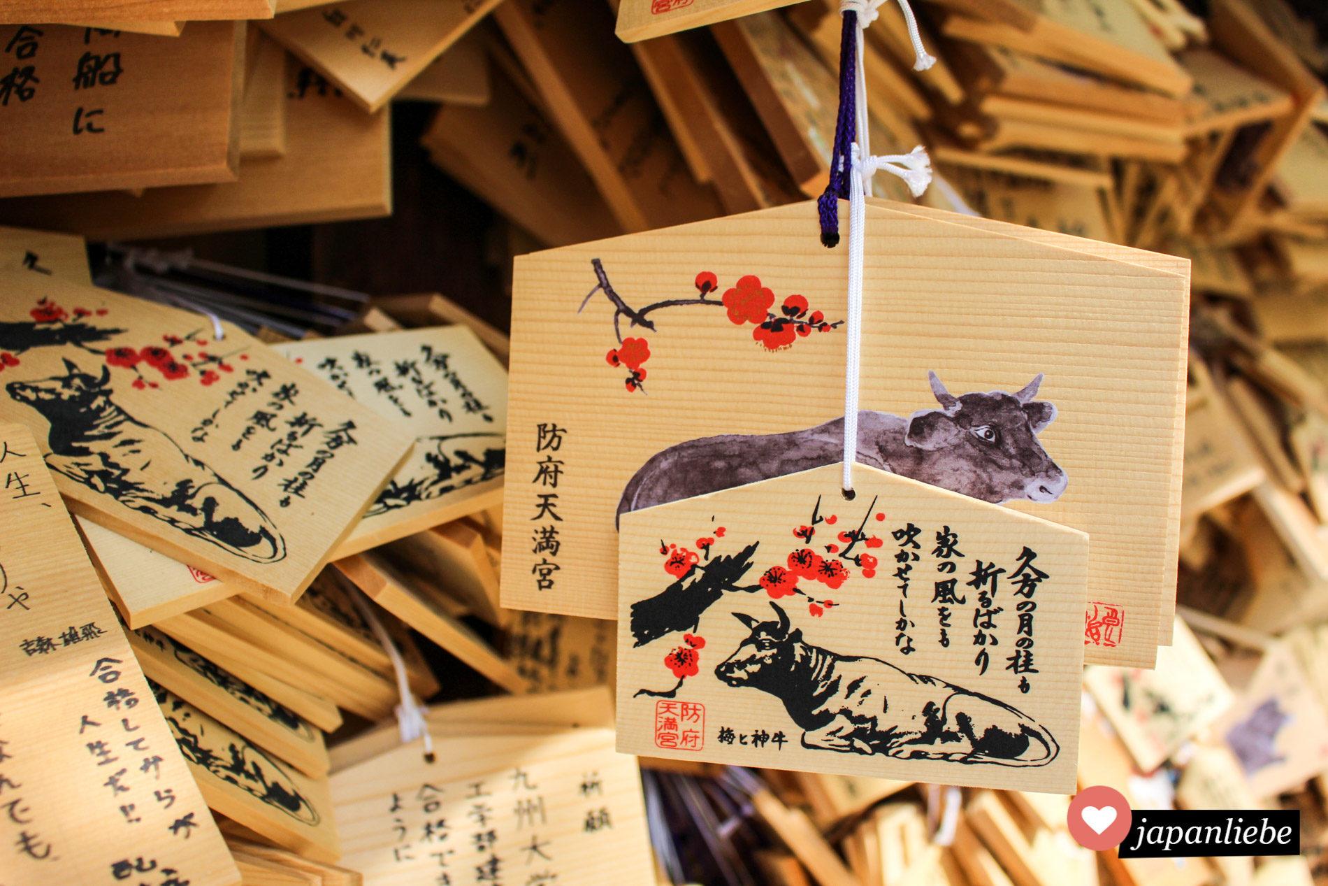 Auch die ema-Wunschtafeln am Tenman-gu Schrein in Hōfu zieren natürlich ein Ochse.