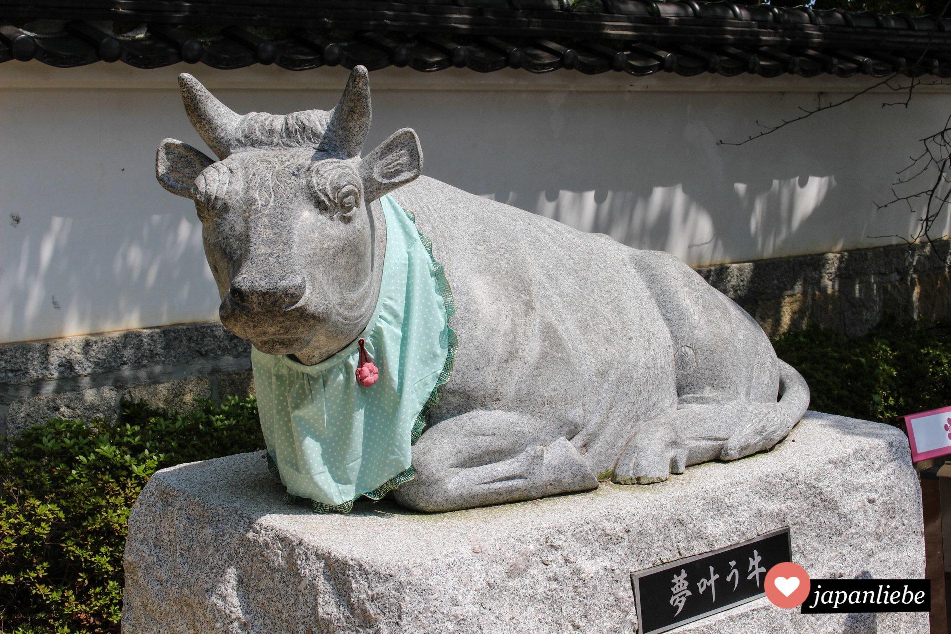 Ochsen gehören zu einem Tenjin-Schrein dazu.