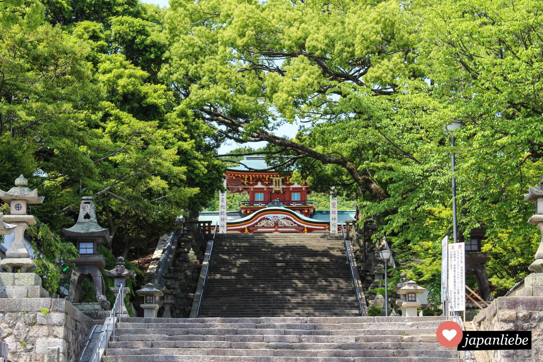 Zu Festlichkeiten werden die Stufen zum Tenman-gu Schrein mit Blumen geschmückt.