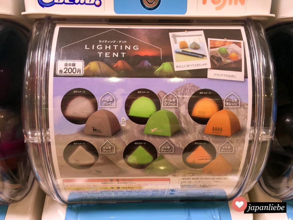 Gashapon: beleuchtete Zelte