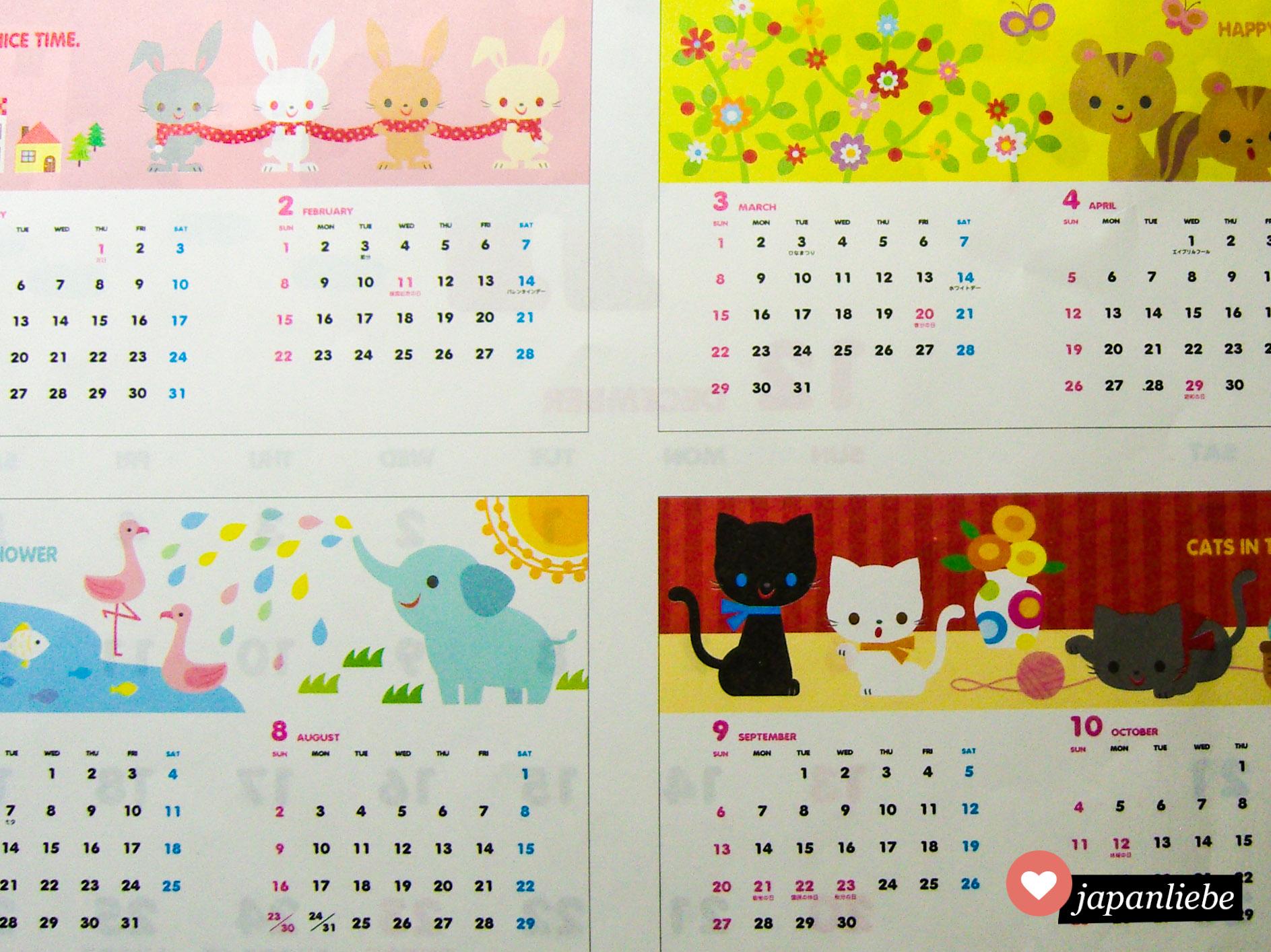 Ein niedlicher Tierkalender aus einem 100-Yen-Shop.