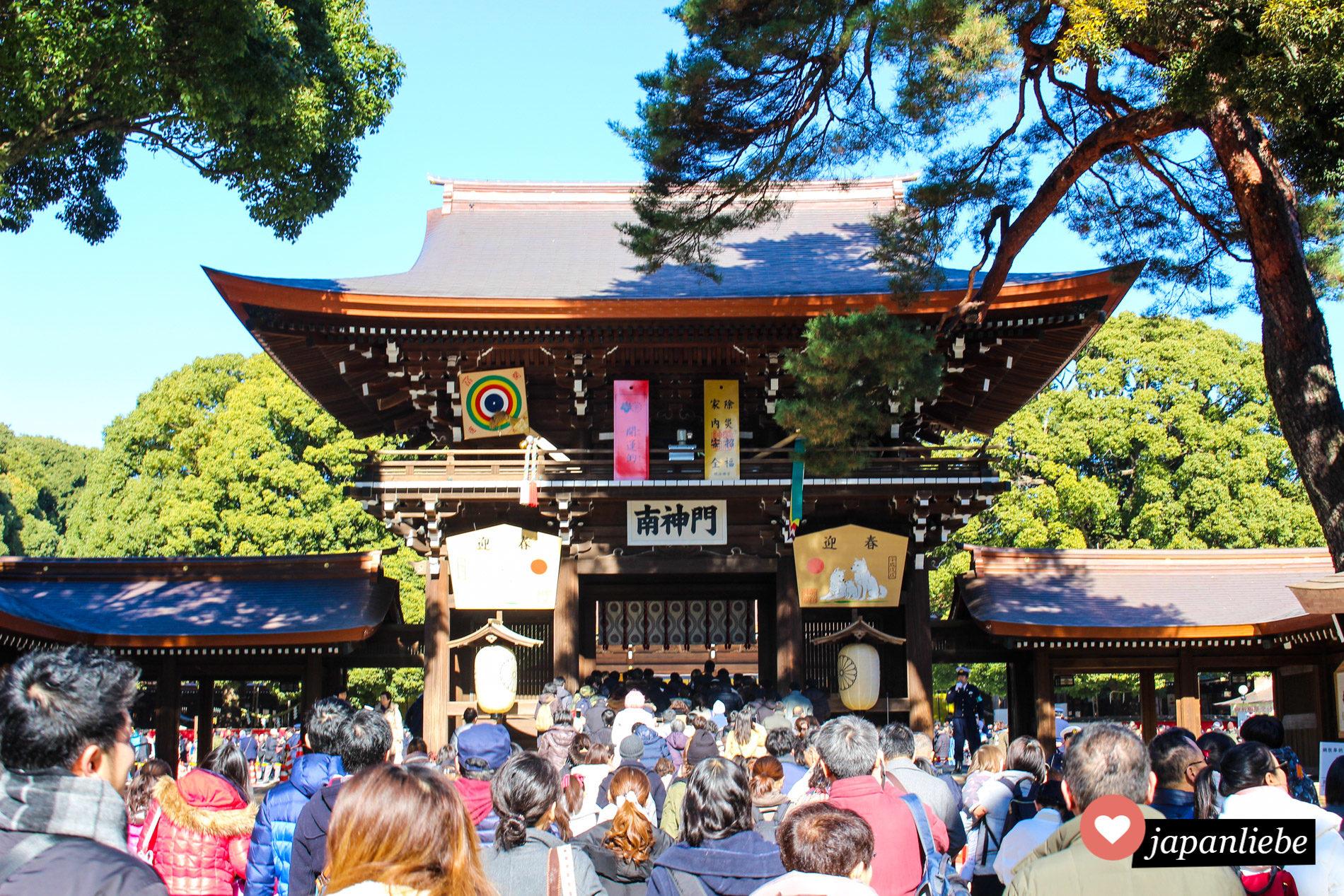 Anstehen für hatsumode, den ersten Schreinbesuch am Meiji Schrein in Tōkyō.