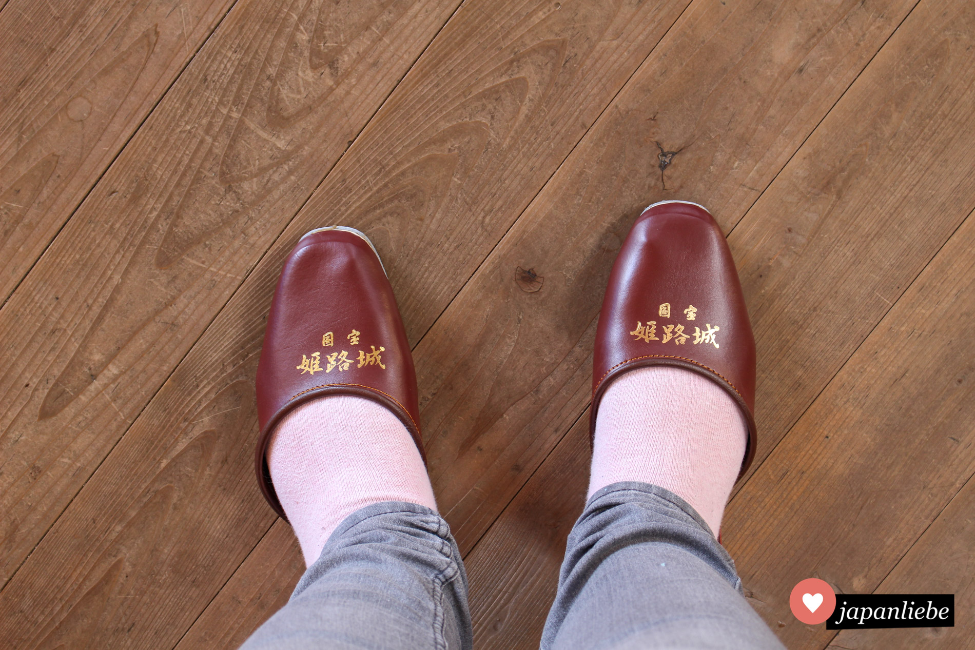 In der Burg von Himeji bekommt man Leischlappen, die wahrlich nicht auf große europäische Füße ausgelegt sind ;)
