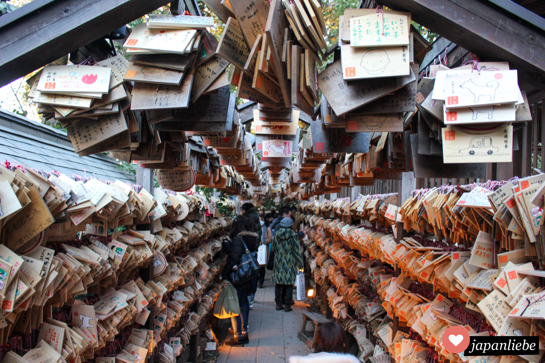 Der Hiwasa Schrein in Kawagoe hat einen besonders schönen Tunnel, in dem man ema-Wunschtafeln aufhängen kann.