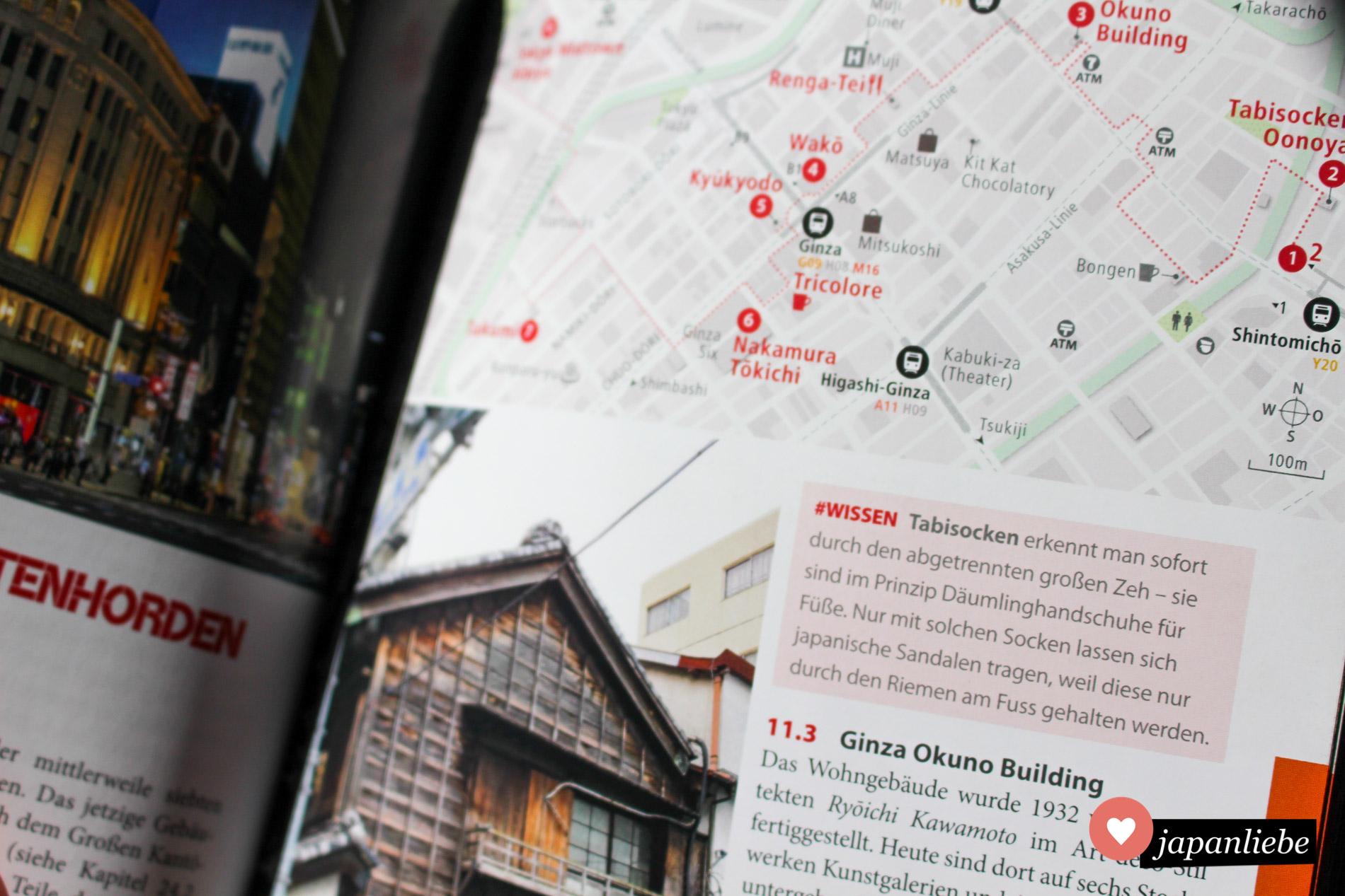 Orientierung leicht gemacht: die Übersichtskarten sind sehr gut aufbereitet. Zusätzliche Tipps und Infos geben Einblicke in die japanische Kultur.