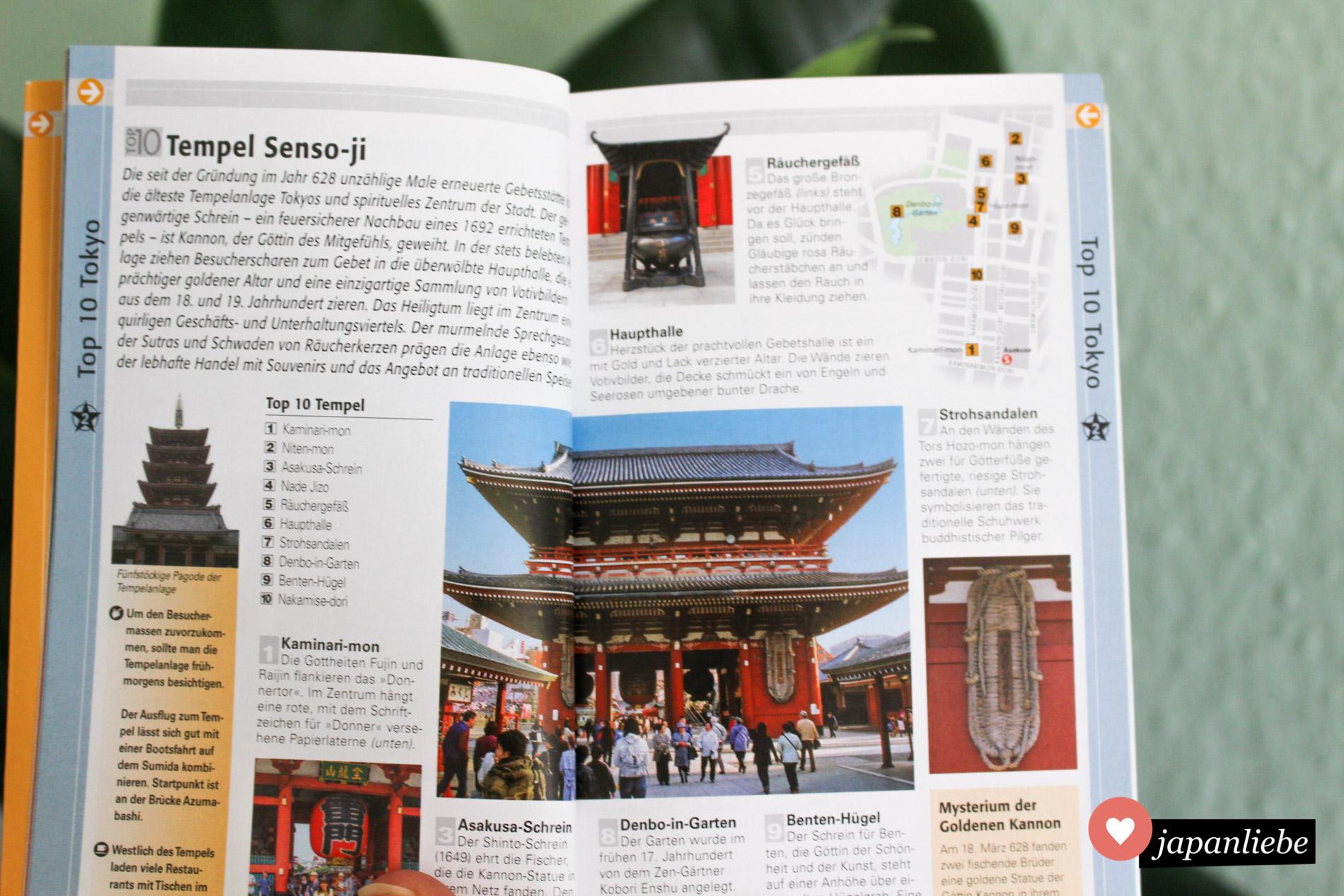 """Der """"Top 10 Tokyo"""" präsentiert kompakt auf einer Doppelseite die Top 10 zu einer Attraktion oder einem Thema. Eine kleine Übersichtskarte erleichtert die Orientierung."""