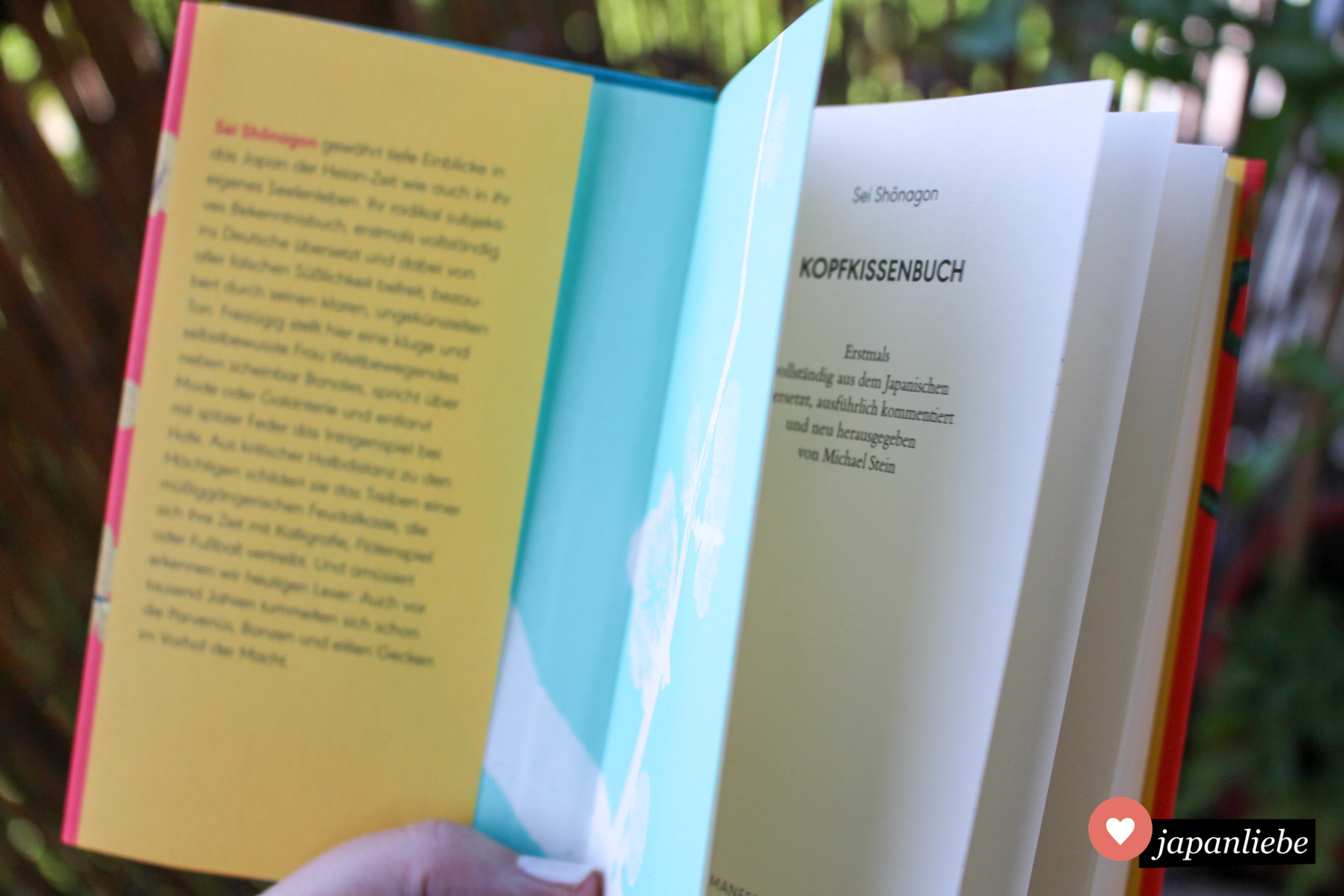 Die Ausgabe vom Manesse Verlag ist handlich, kommt mit einem schönen Schutzumschlag und Innenseiten mit Pflaumenmuster.