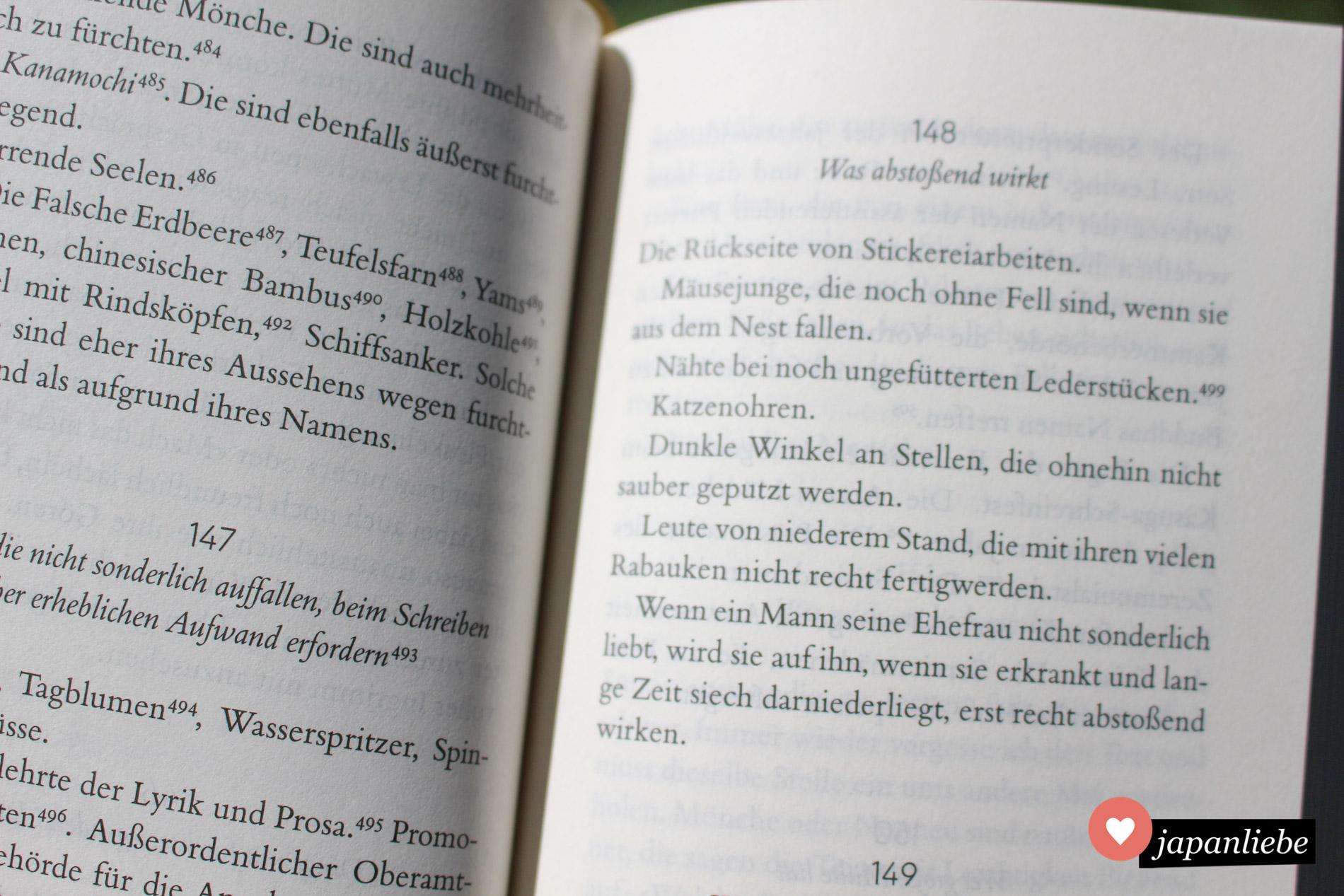 """Ein Beispiel für die diversen Listen im """"Kopfkissenbuch""""."""