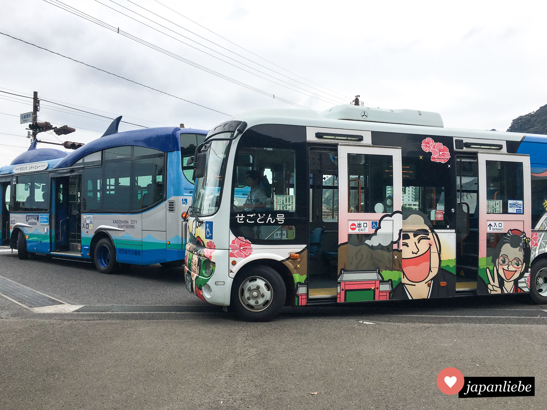 Gleich zwei verrückte Bus-Modelle fahren durch Kagoshima: der niedlich verzierte Touristenbus und einer, mit einem Walfisch auf dem Dach.