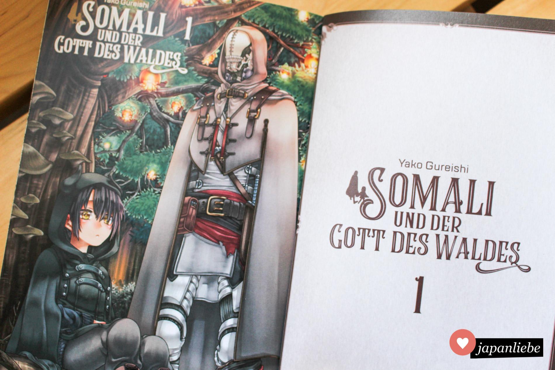 """""""Somali und der Gott des waldes"""" ist wie alle Bücher von Manga Cult sehr schön ausgestattet mit UV-Lack-Applikationen auf dem Cover und einer Farbseite zu Beginn."""