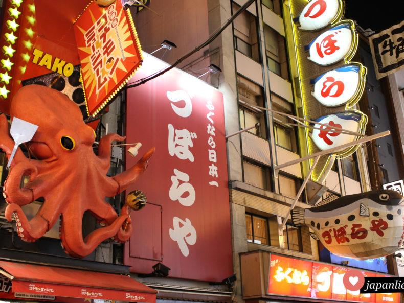 Ōsakas Dōtonbori erkennt man sofort an den kreativen Werbedisplays für lokale Spezialitäten wie takoyaki und fugu.