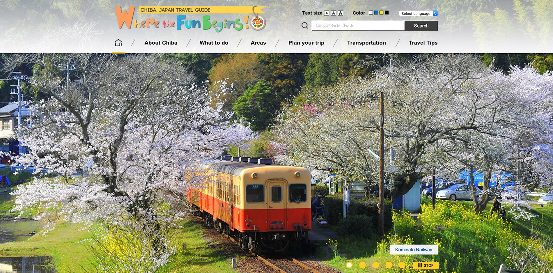 Die englische Webseite des Tourismusverbandes der Präfektur Chiba.