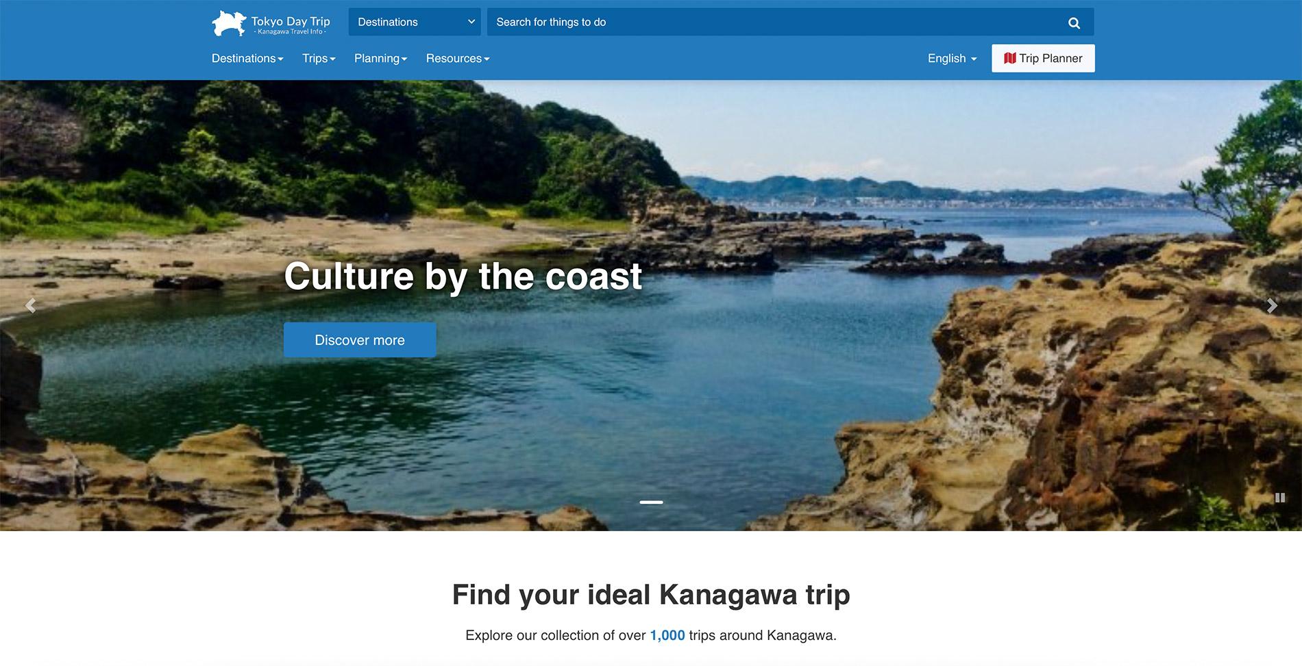 Die englische Webseite des Tourismusverbandes der Präfektur Kanagawa.