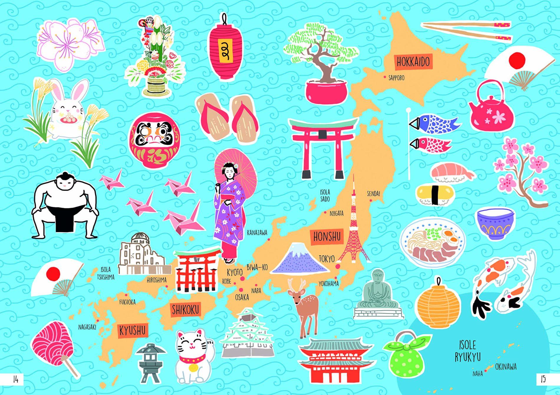 """Blick ins Buch """"Japan. Der illustrierte Guide"""": Japankarte mit vielen Detailillustrationen"""