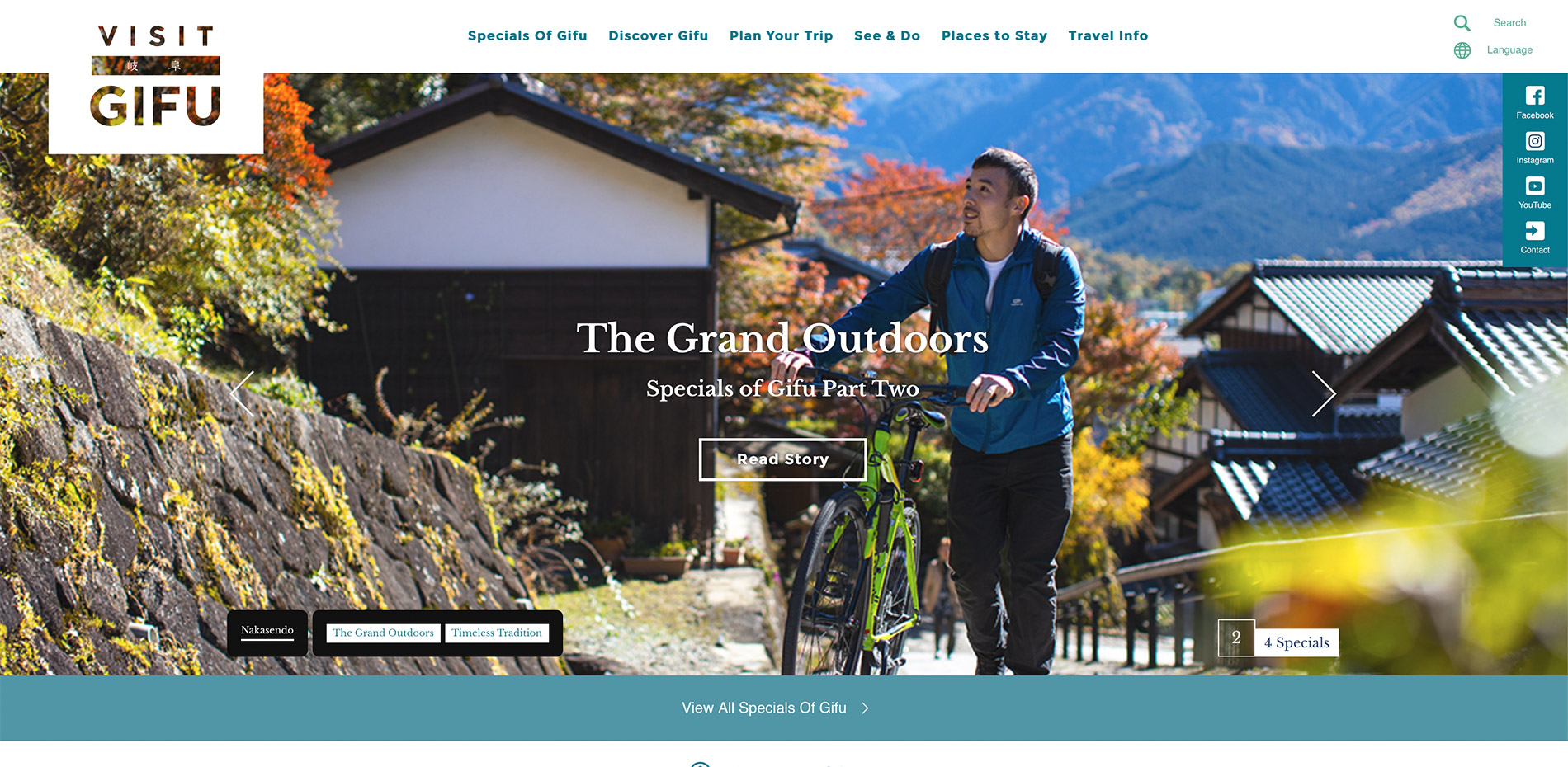 Die englische Webseite des Tourismusverbandes der Präfektur Gifu.