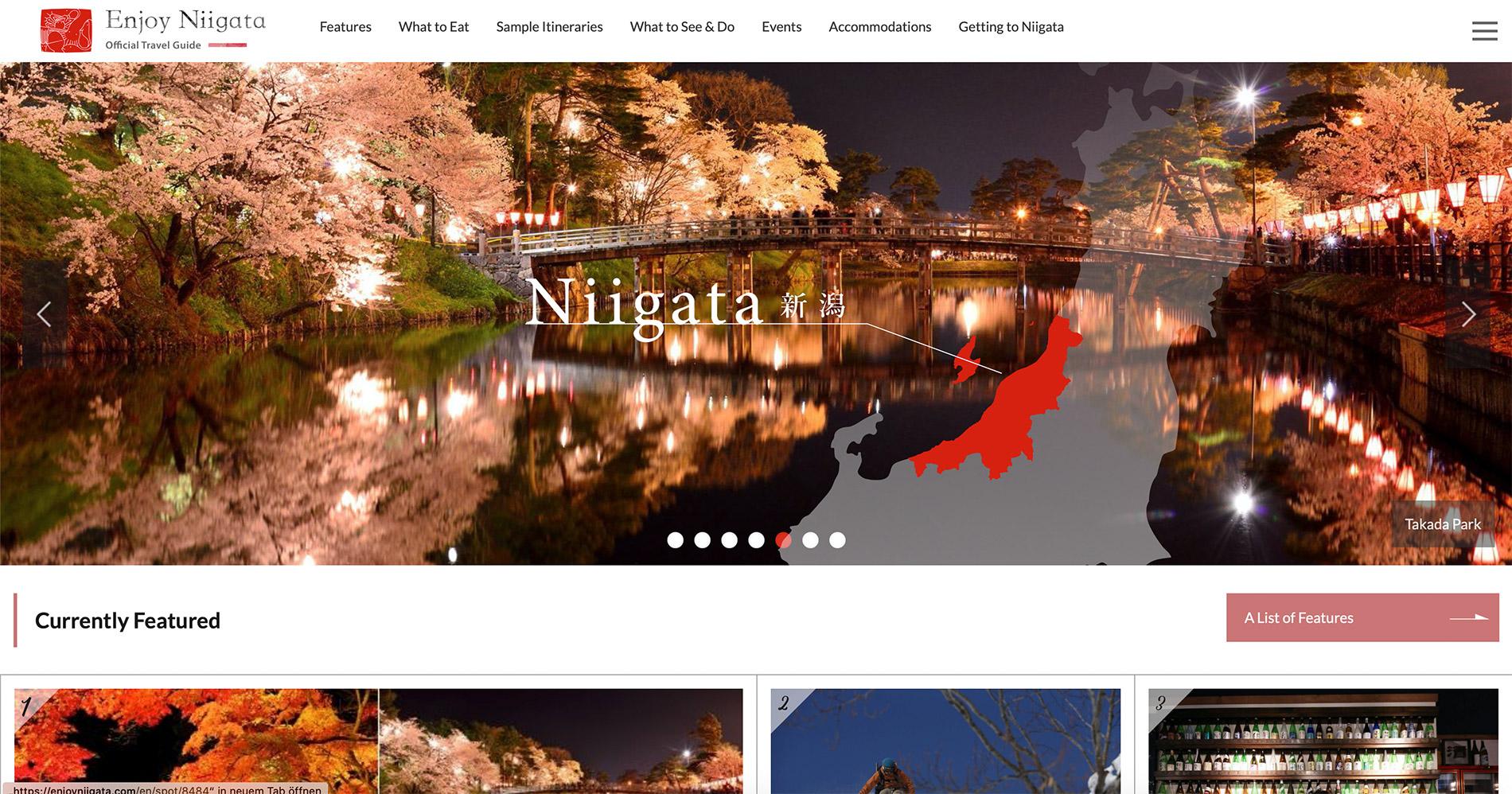 Die englische Webseite des Tourismusverbandes der Präfektur Niigata.