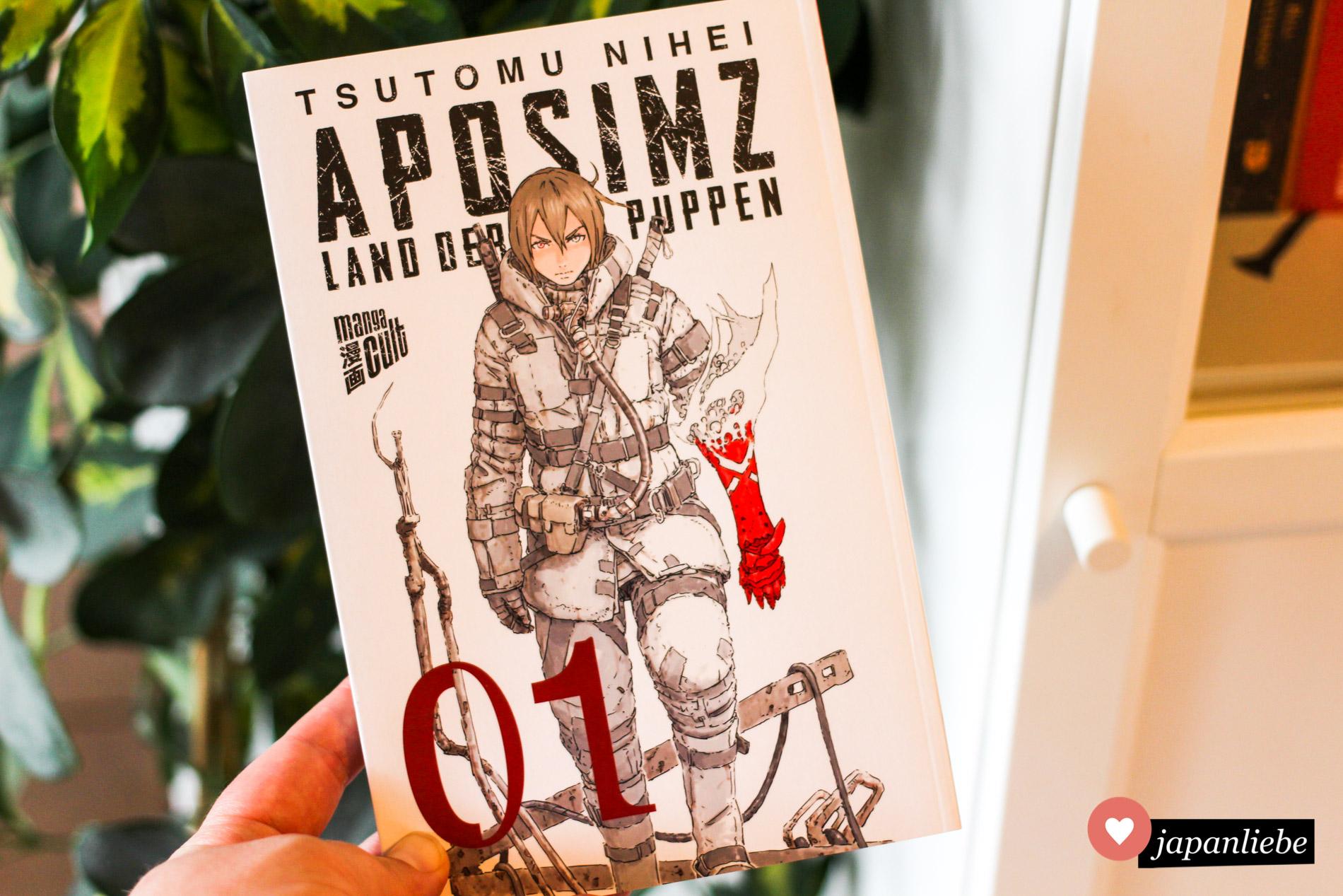 """So minimalistisch wie der Inhalt von """"Aposimz"""" kommt auch das Cover daher. Wie immer bei Manga Cult schön veredelt mit UV-Lack."""