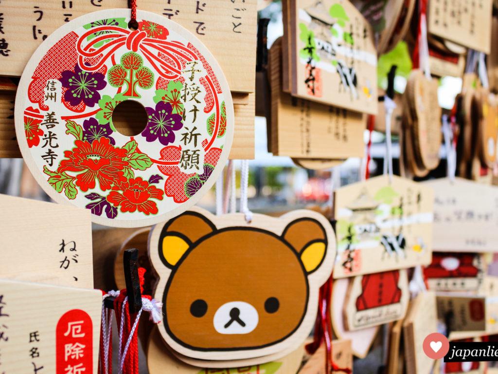 ema Wunschtafeln am Zenkō-ji Tempel in Nagano.