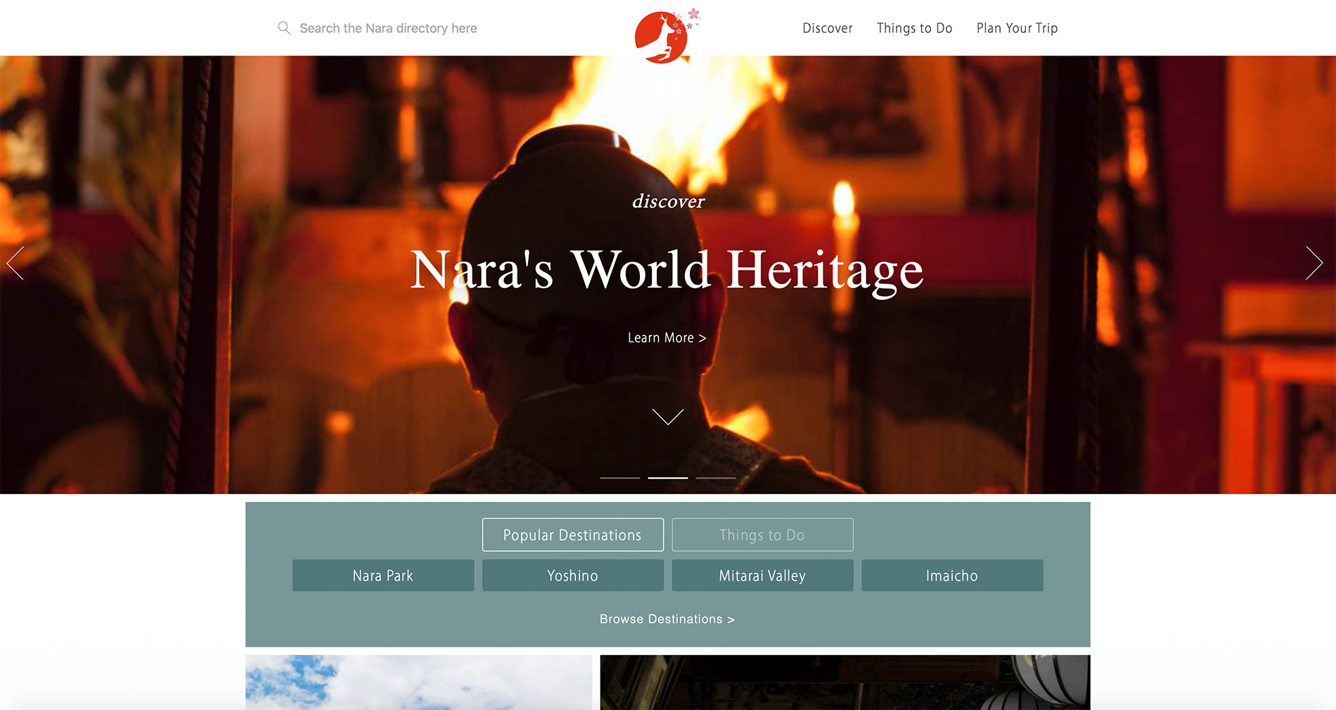 Die englische Webseite des Tourismusverbandes der Präfektur Nara.