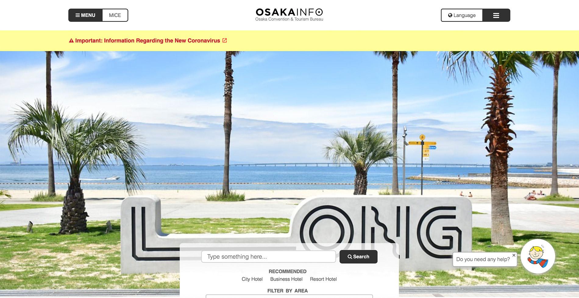 Die englische Webseite des Tourismusverbandes der Präfektur Ōsaka.