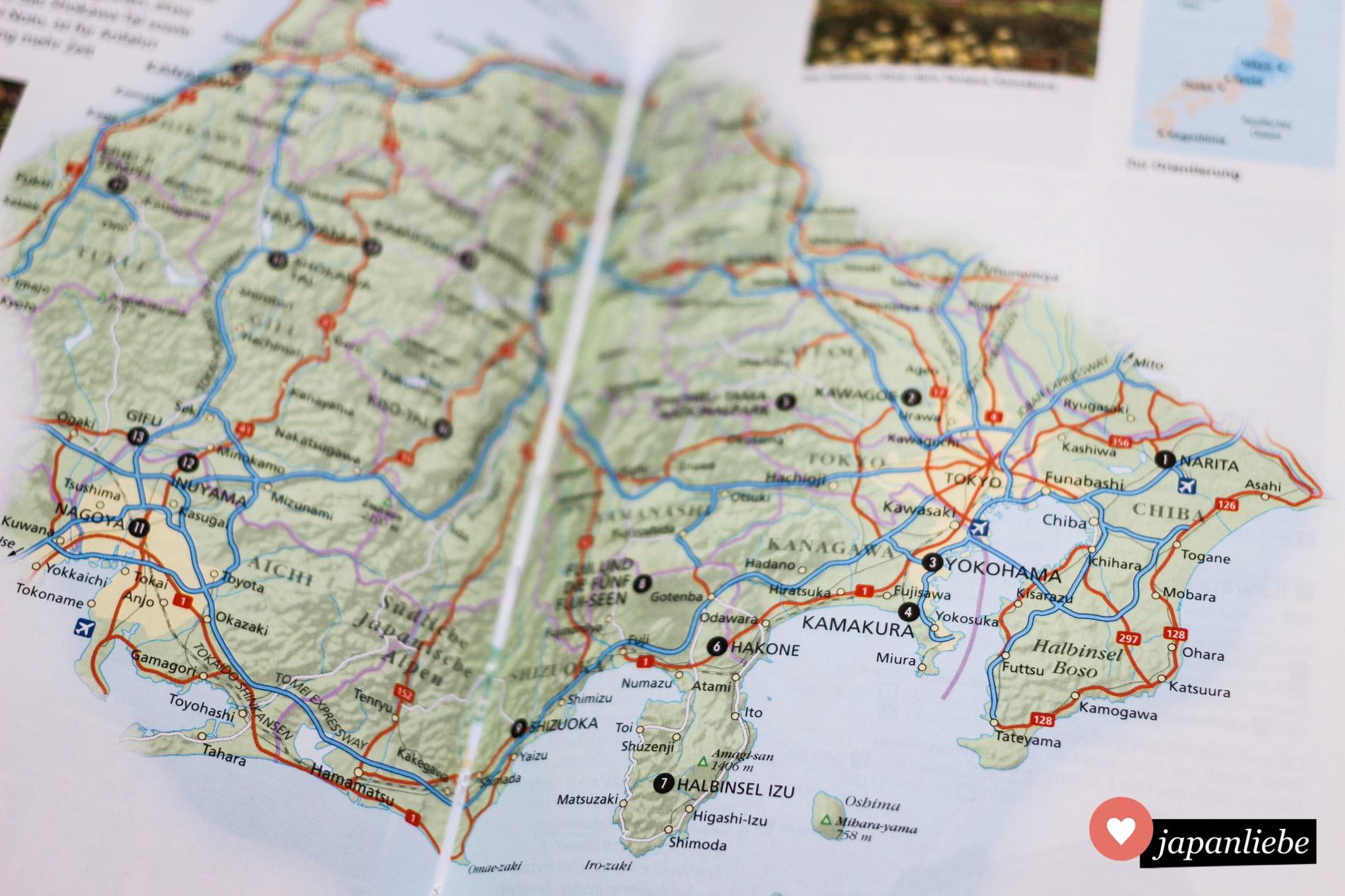 Das beste Hilfsmittel fürs Planen meiner Japanreisen: die fantastischen, regionalen Übersichtskarten.