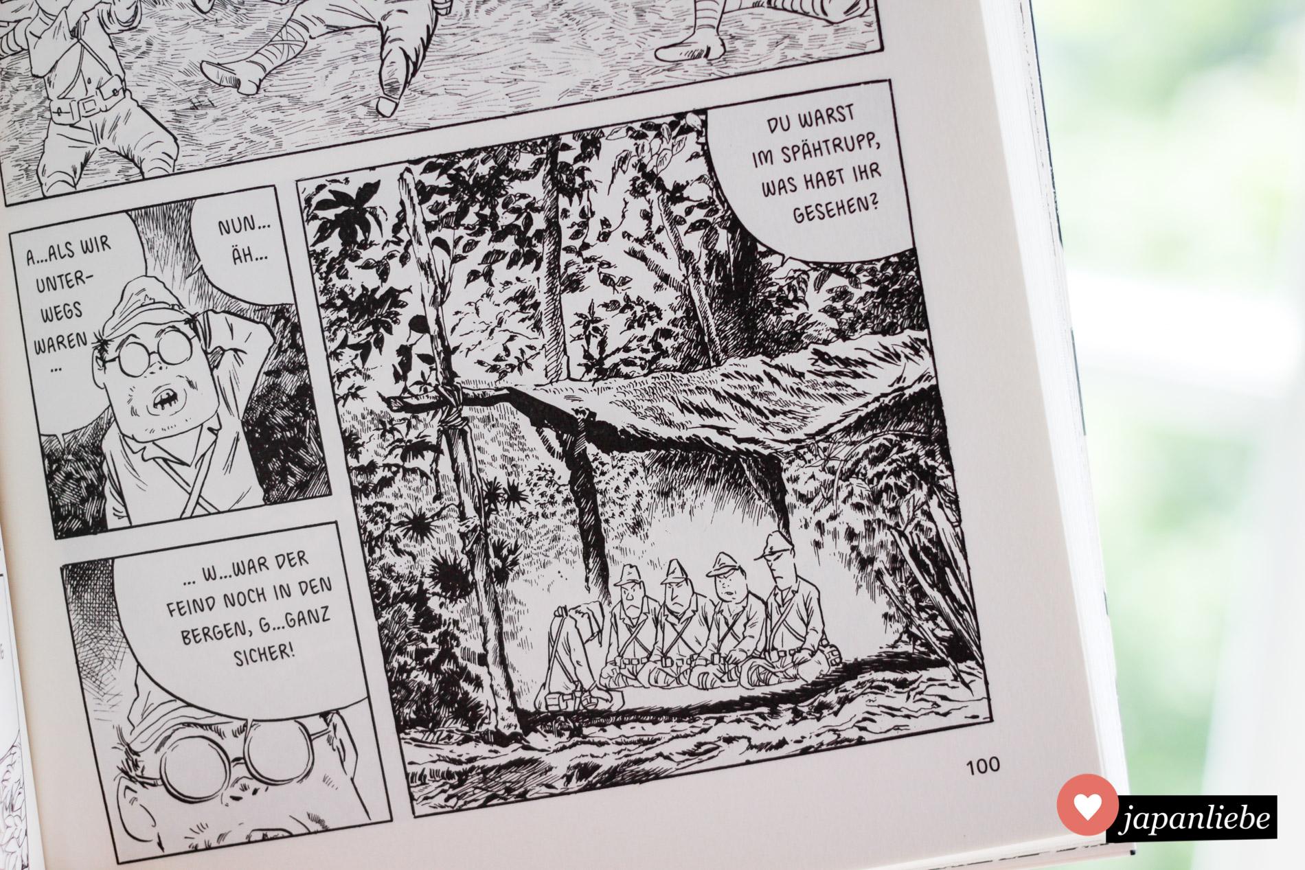 """Mizukis Zeichenstil mit detaillierten Hintergründen und umso ulkigeren Charakteren eignet sich überraschend gut für die ernste Thematik von """"Auf in den Heldentod!""""."""