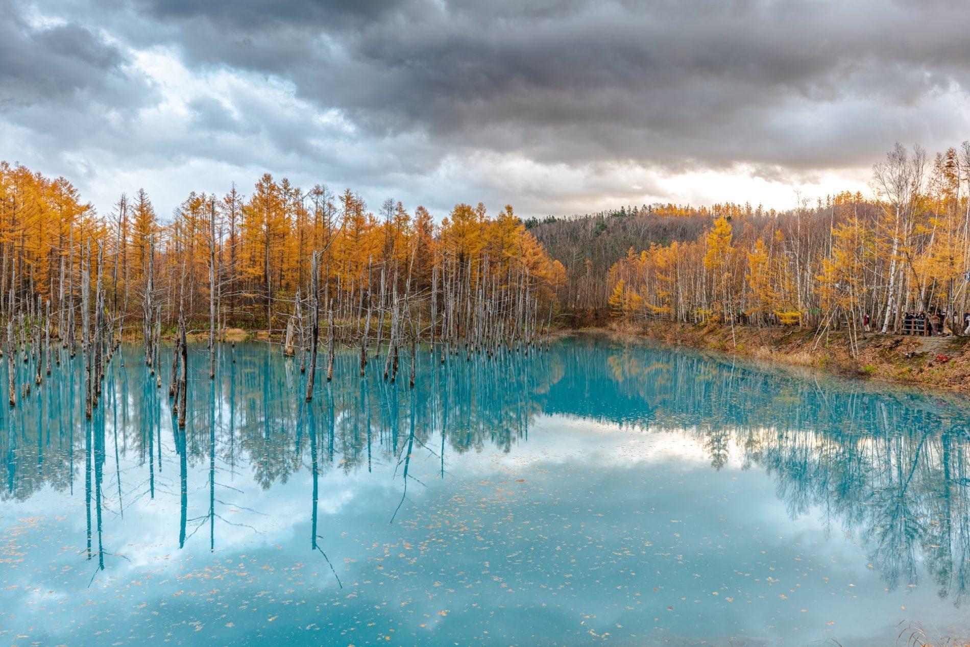Der blaue Teich auf Hokkaidō ist nur ein spektakuläres Beispiel für die schöne Herbstlaubfärbung dort. (Foto: topcools tee auf Unsplash https://unsplash.com/photos/7FzSI2O3xJs)