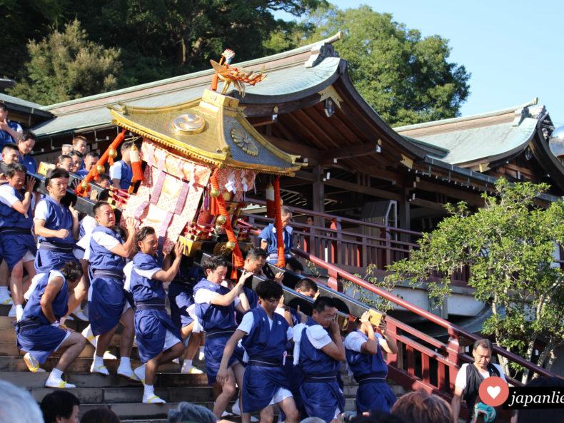 Männer tragen eine schwere o-mikoshi Göttersänfte die Treppe am Suwa Schrein in Nagasaki hinab. Hier ist Teamwork gefragt.