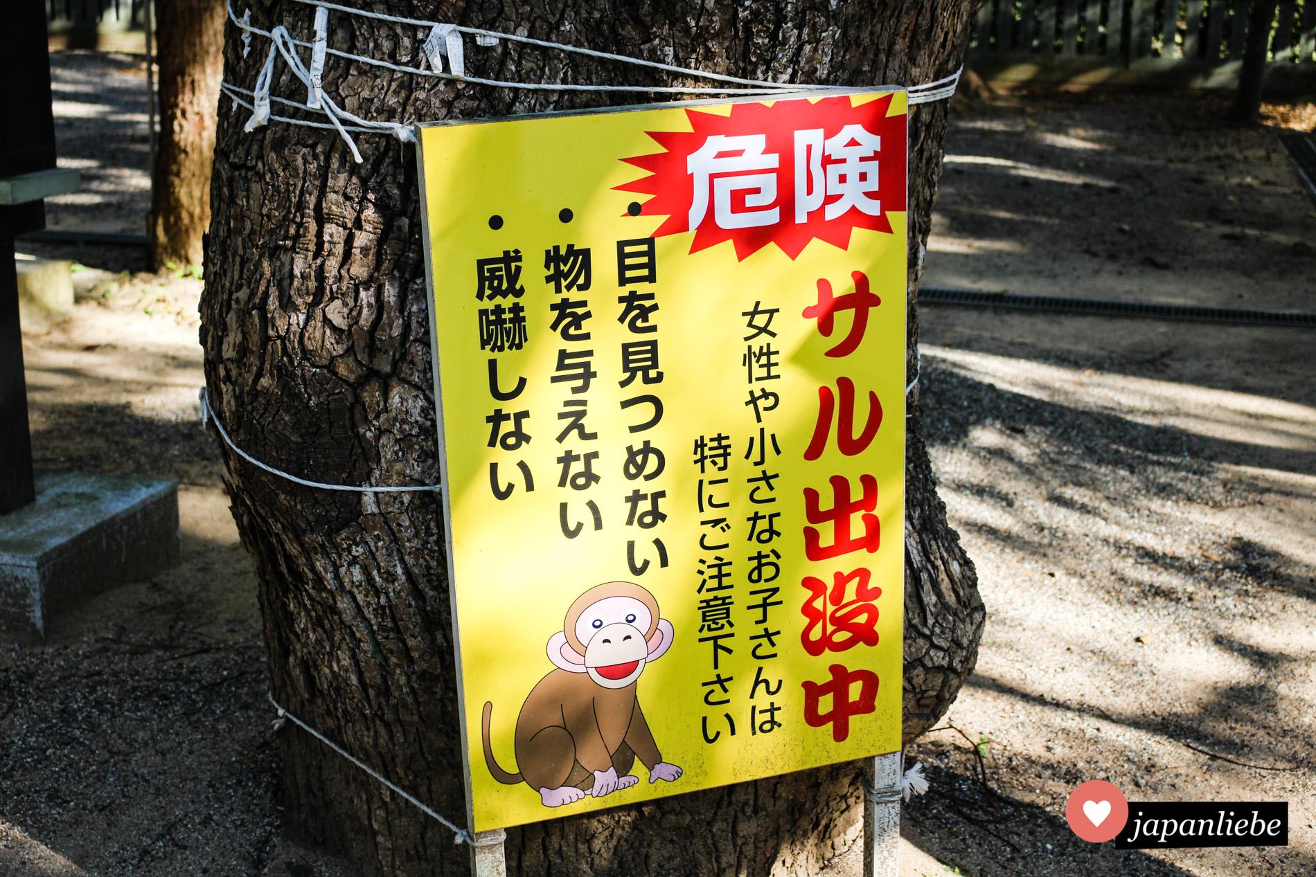 Warnschilder vor Affen – in Deutschland undenkbar.