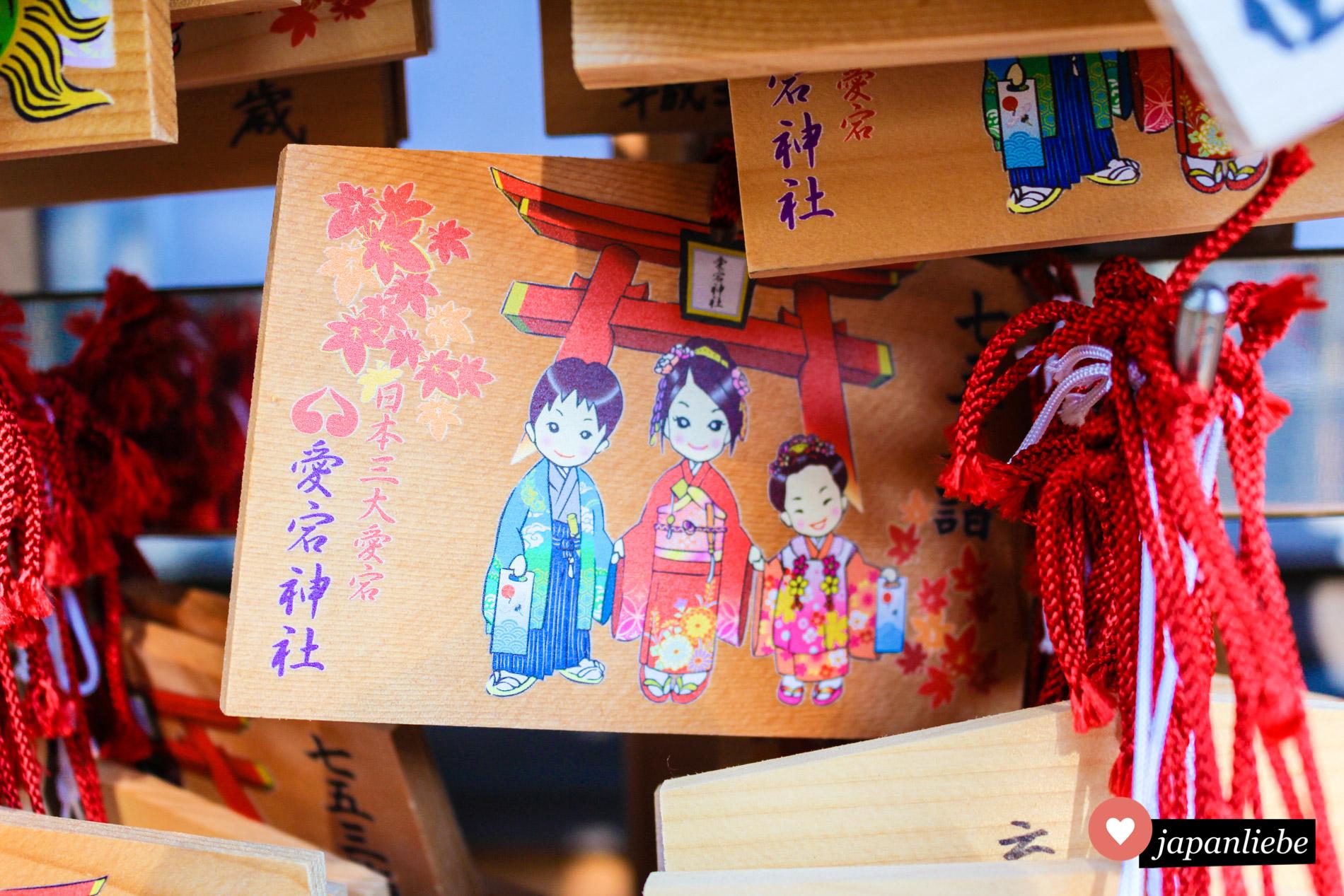 Eine ema Wunschtafel zum shichi go san Fest.