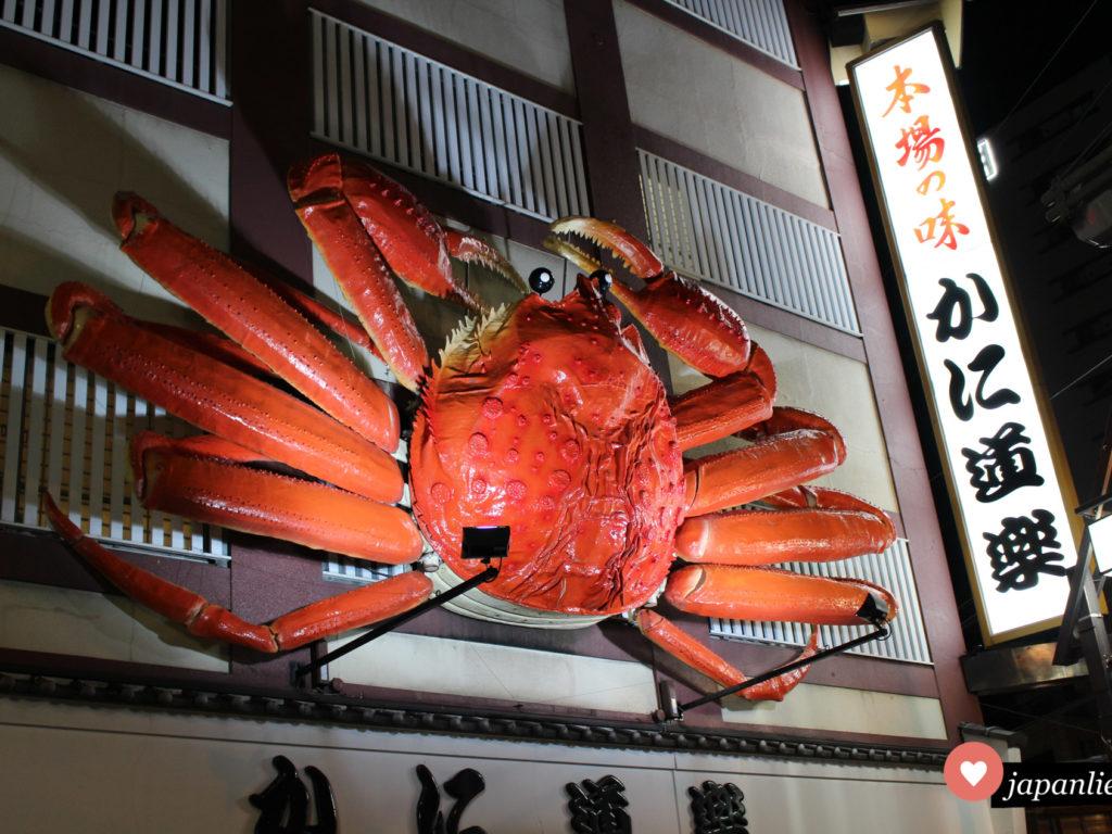 Weltberühmt sind die sich bewegenden Krabben-Displays der Kani Doraku Restaurantkette.